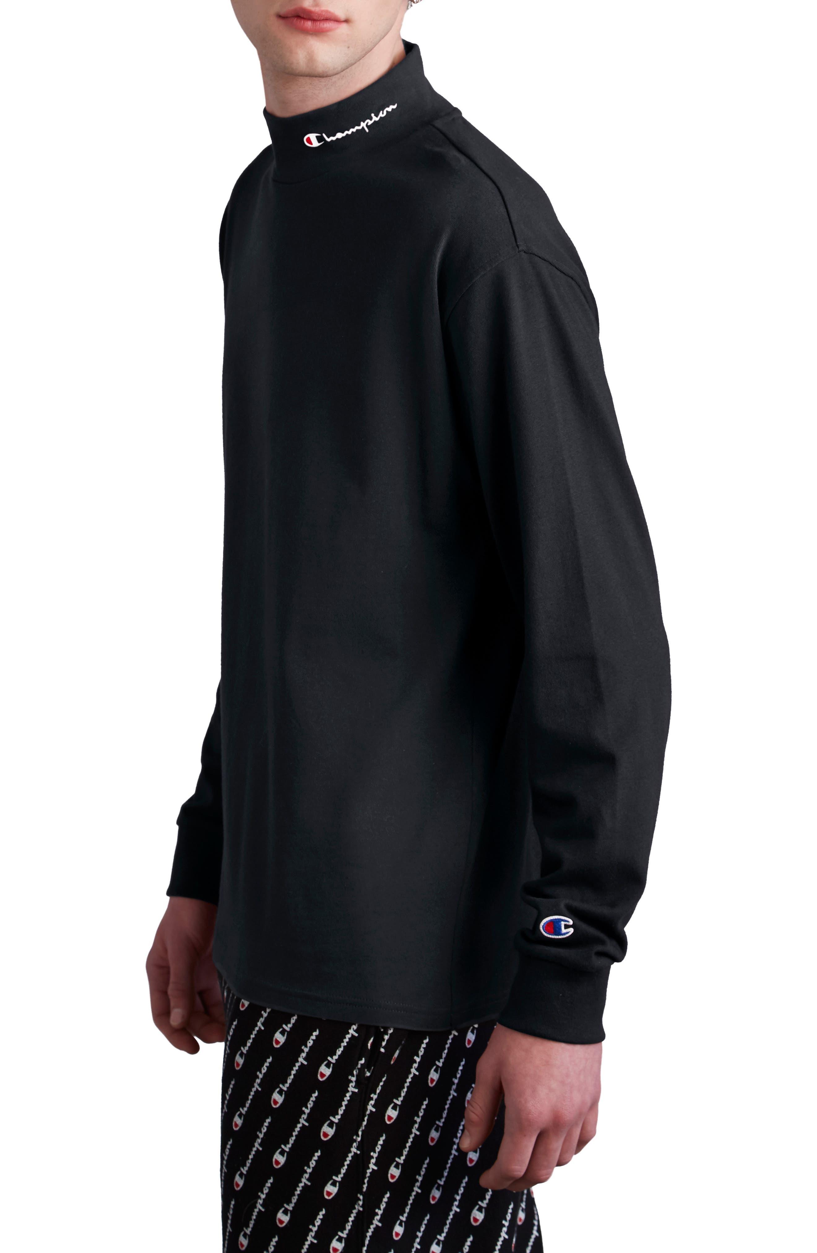CHAMPION, Heavyweight Mock Neck T-Shirt, Alternate thumbnail 3, color, BLACK