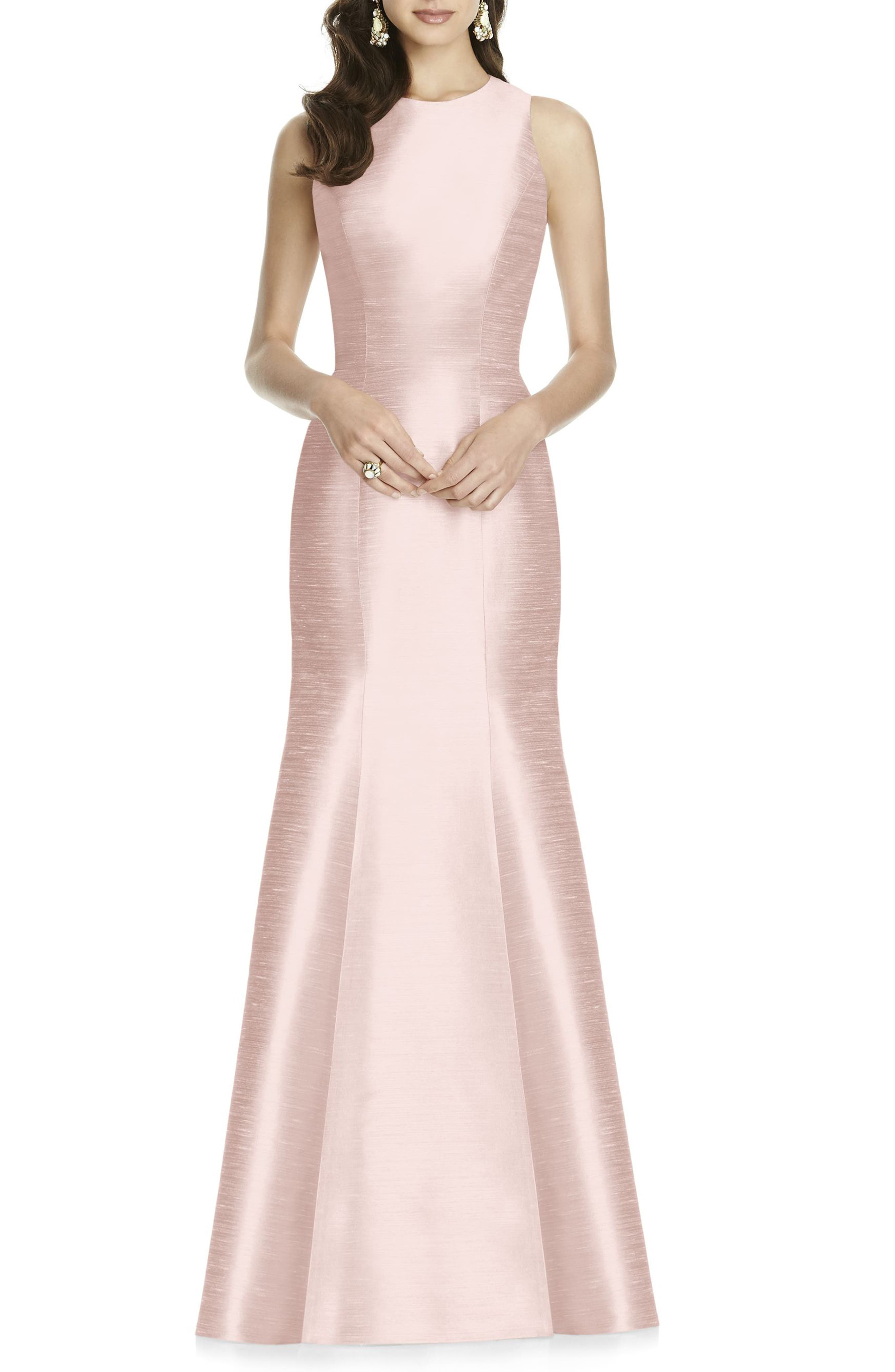 Alfred Sung Dupioni Trumpet Gown, Pink