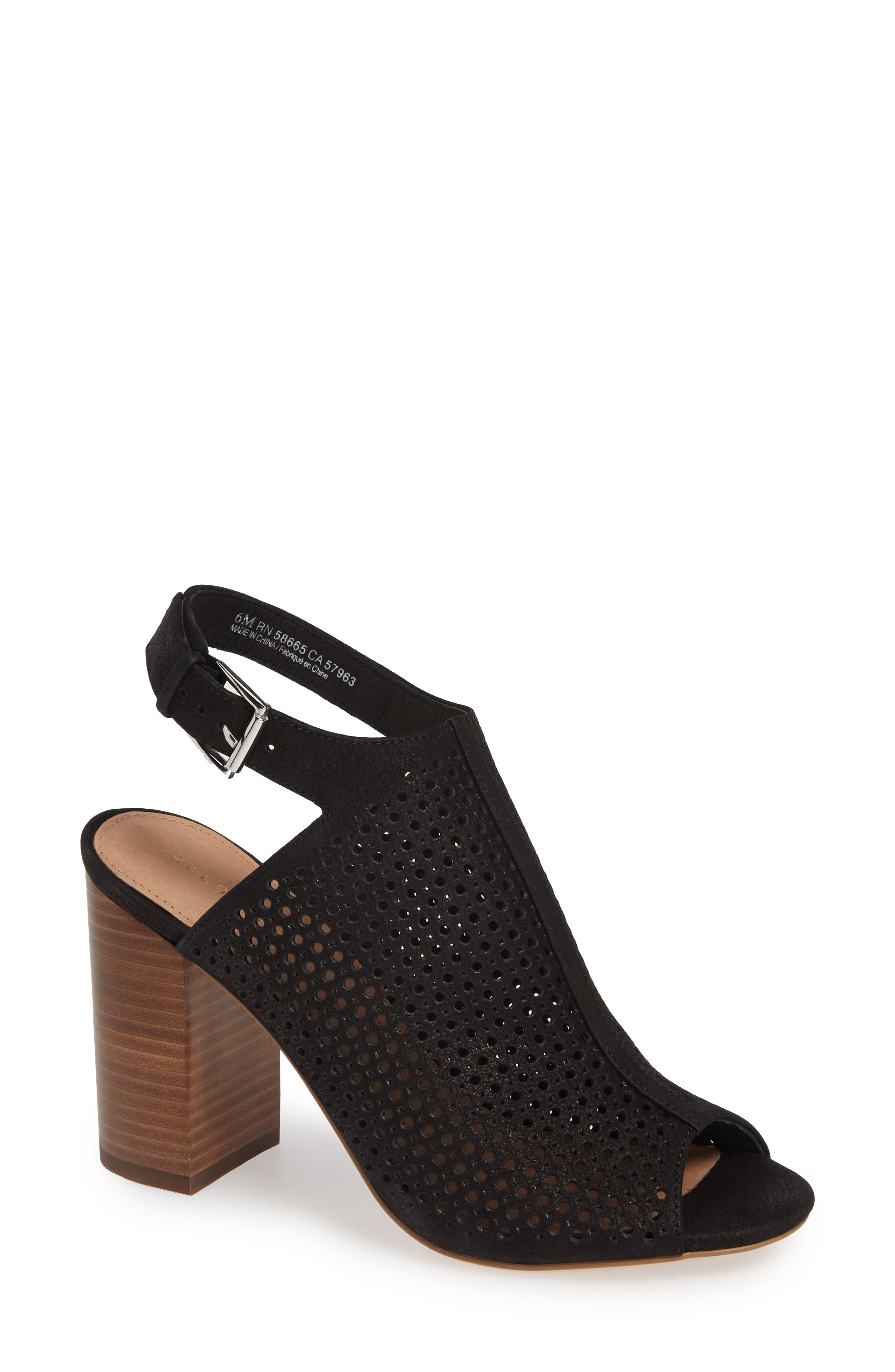 HALOGEN<SUP>®</SUP>, Demi Perforated Shield Sandal, Main thumbnail 1, color, BLACK OILED NUBUCK