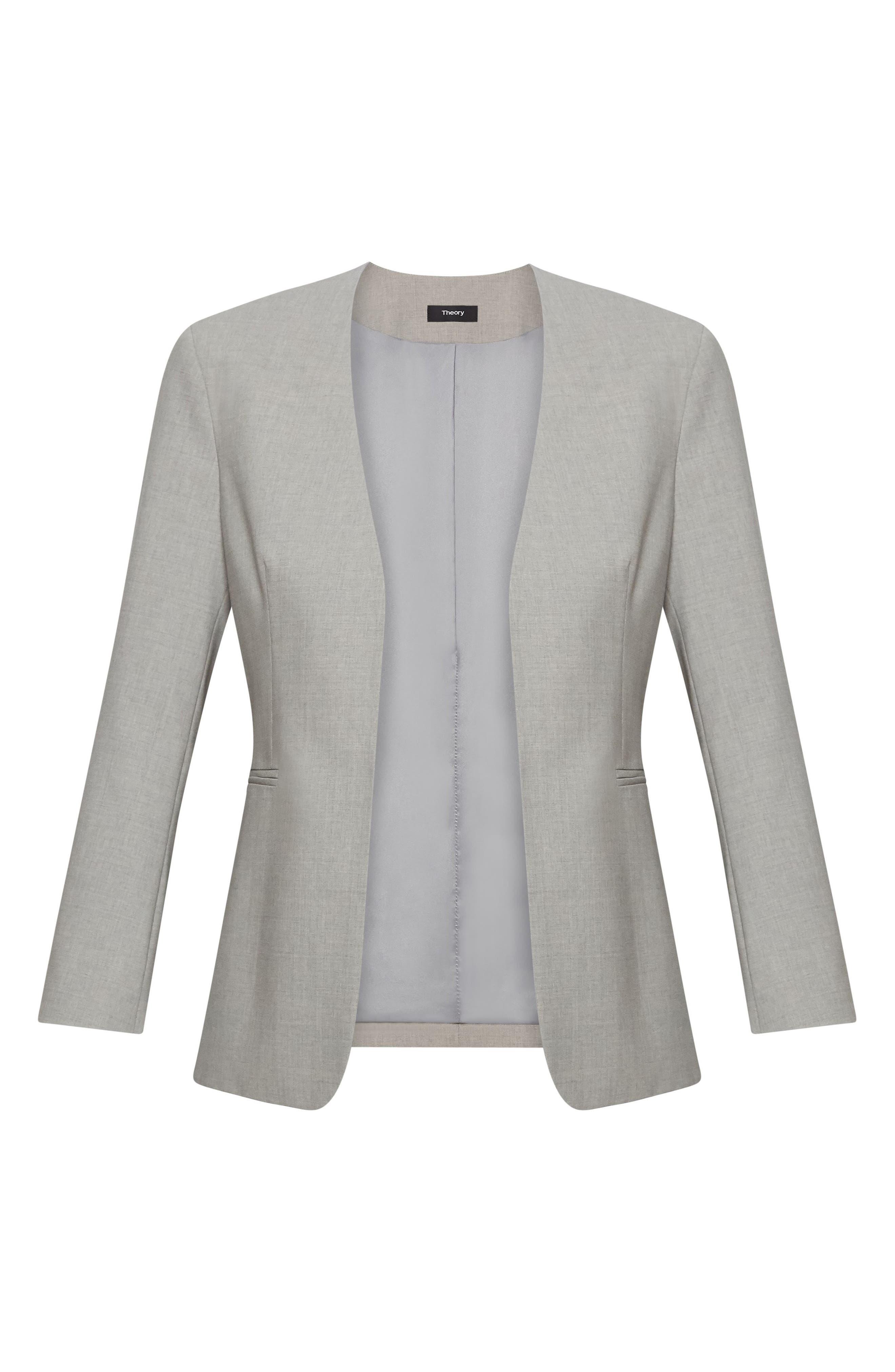 THEORY, Lindrayia B Good Wool Suit Jacket, Alternate thumbnail 5, color, LIGHT GREY MELANGE