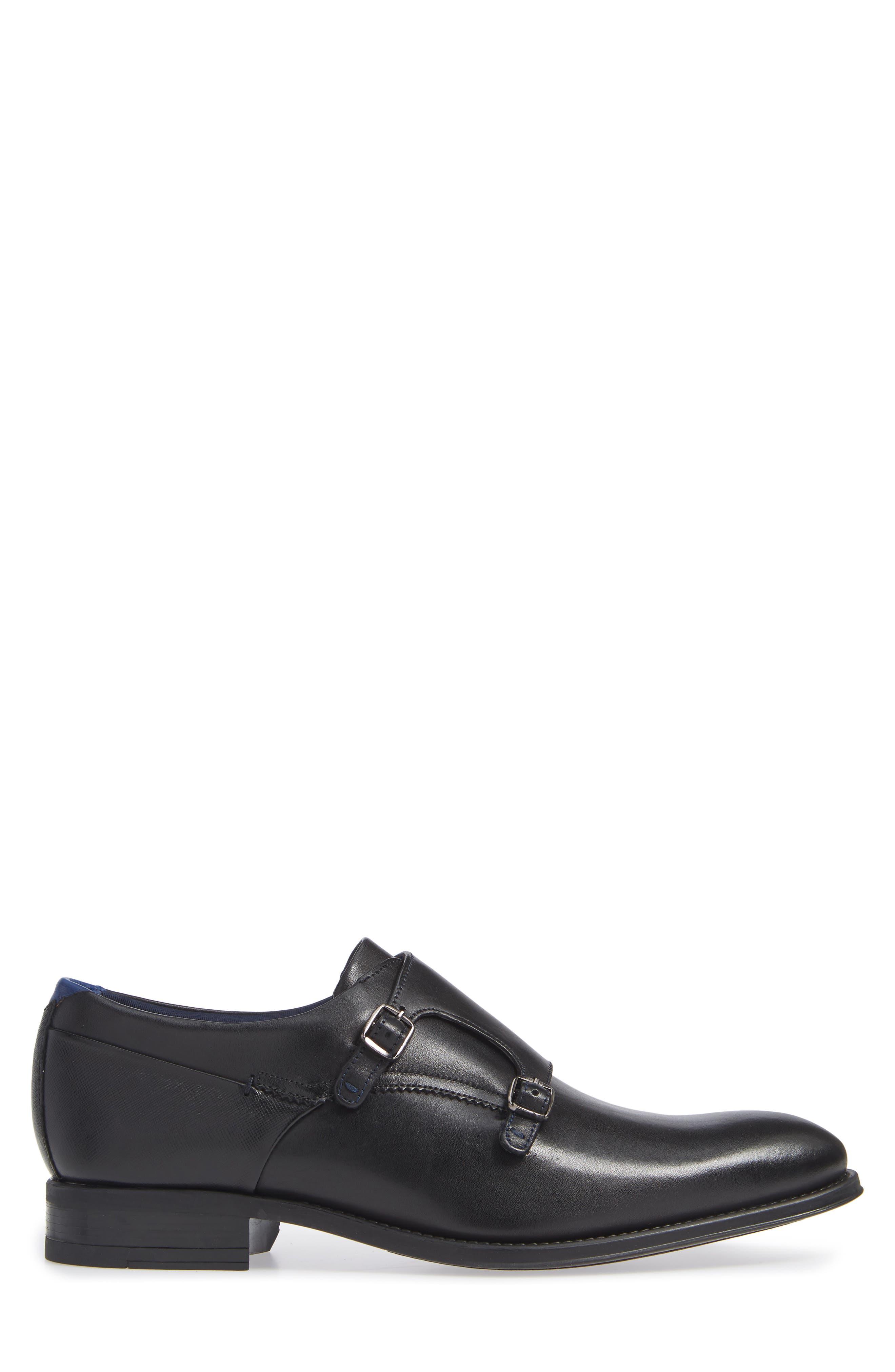 TED BAKER LONDON, Cathon Double Buckle Monk Shoe, Alternate thumbnail 3, color, BLACK LEATHER