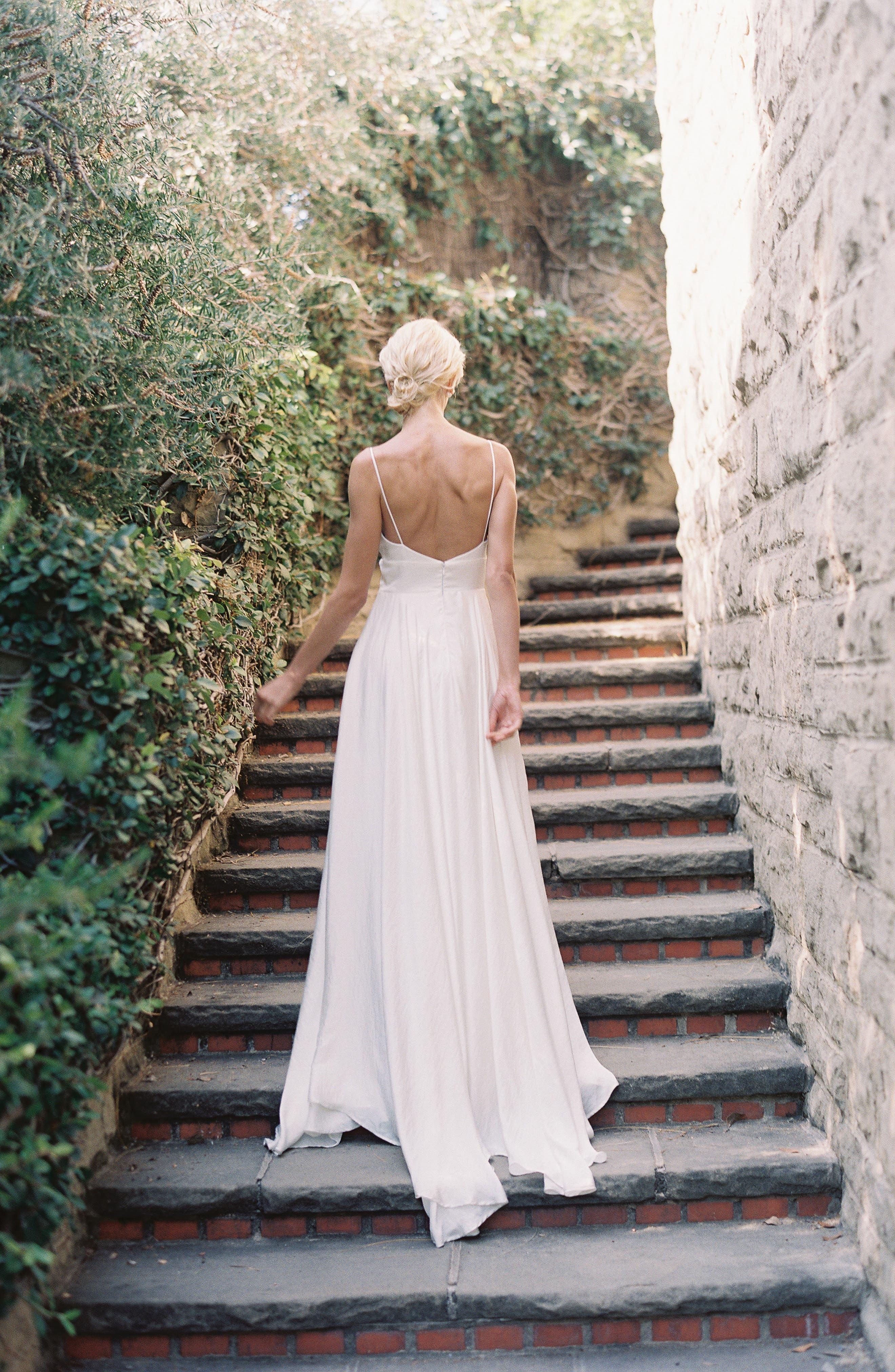 JOANNA AUGUST, Nancy V-Neck Crepe Wedding Dress, Alternate thumbnail 9, color, WHITE