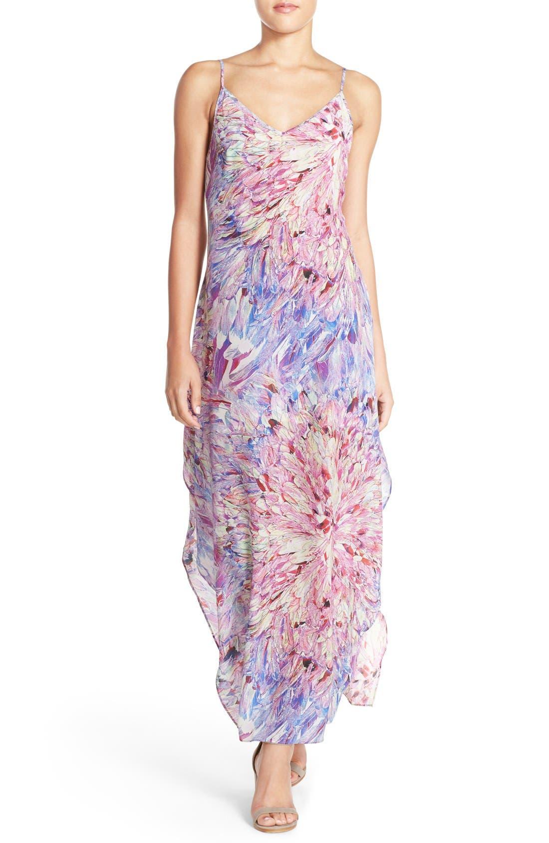 CHARLIE JADE, Print Silk Maxi Dress, Main thumbnail 1, color, 675