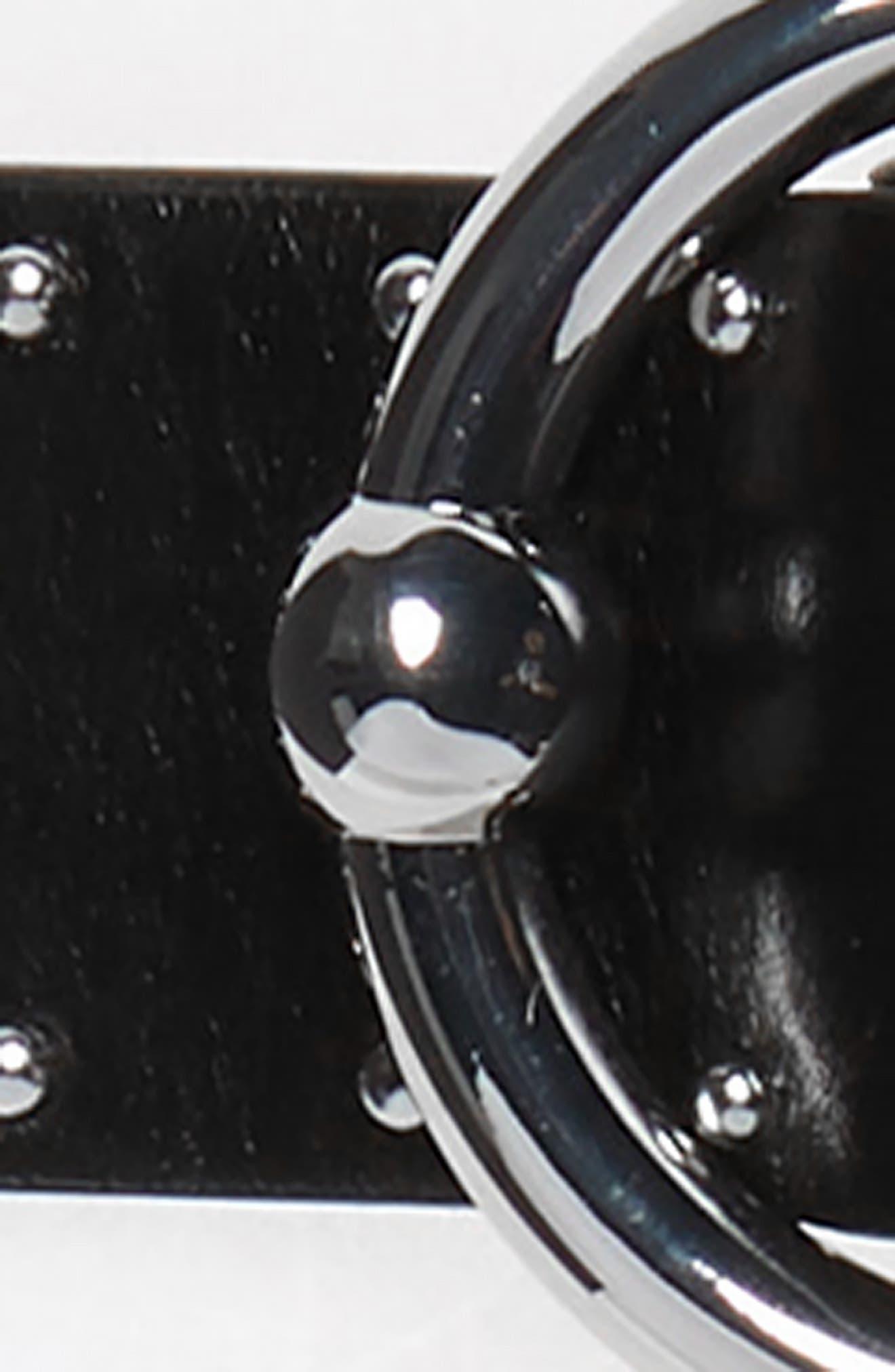 REBECCA MINKOFF, Studded Leather Belt, Alternate thumbnail 3, color, BLACK
