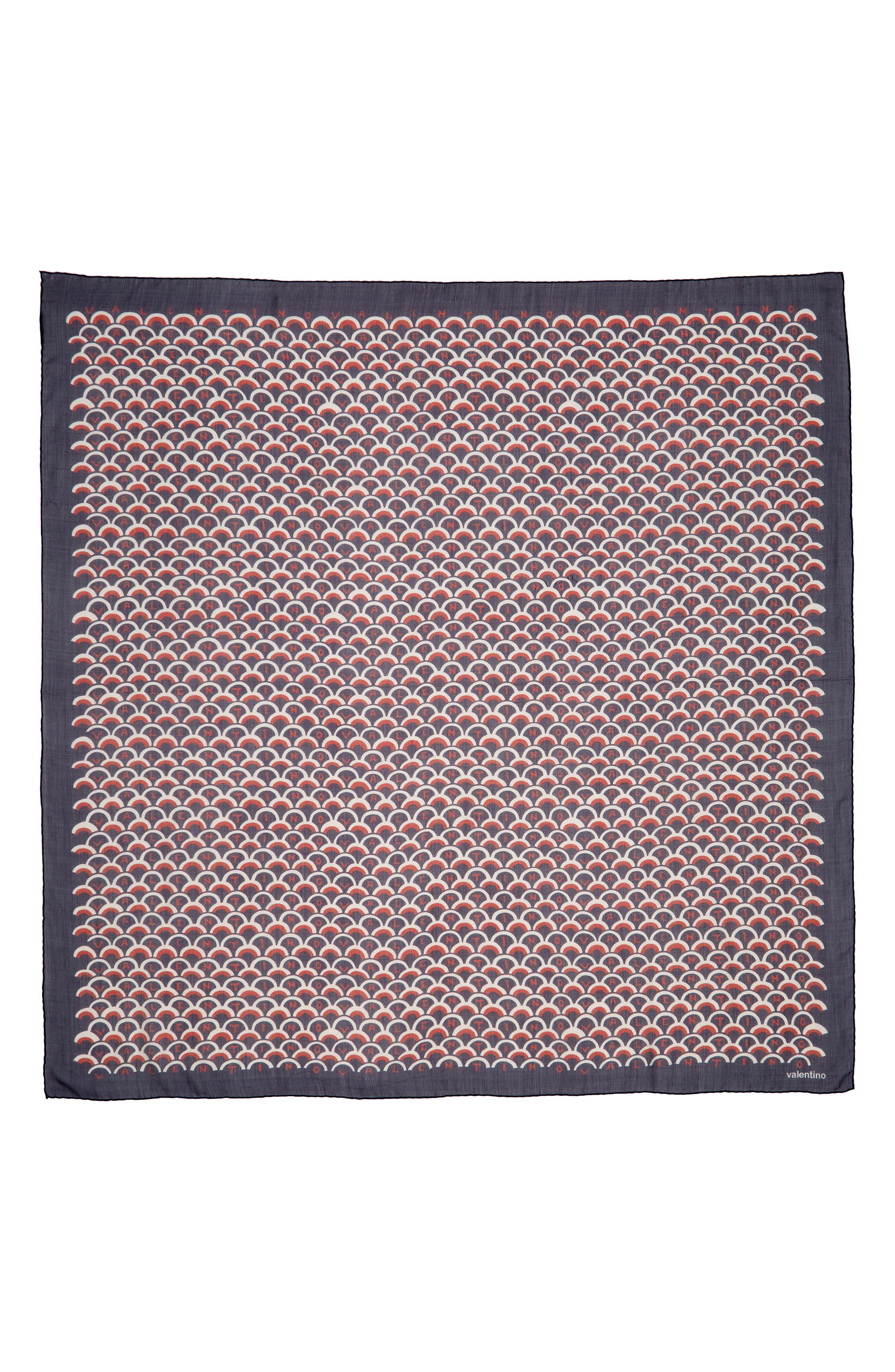 VALENTINO Scale Print Silk Shawl, Main, color, PURE BLUE/ MATTONE-AVORIO
