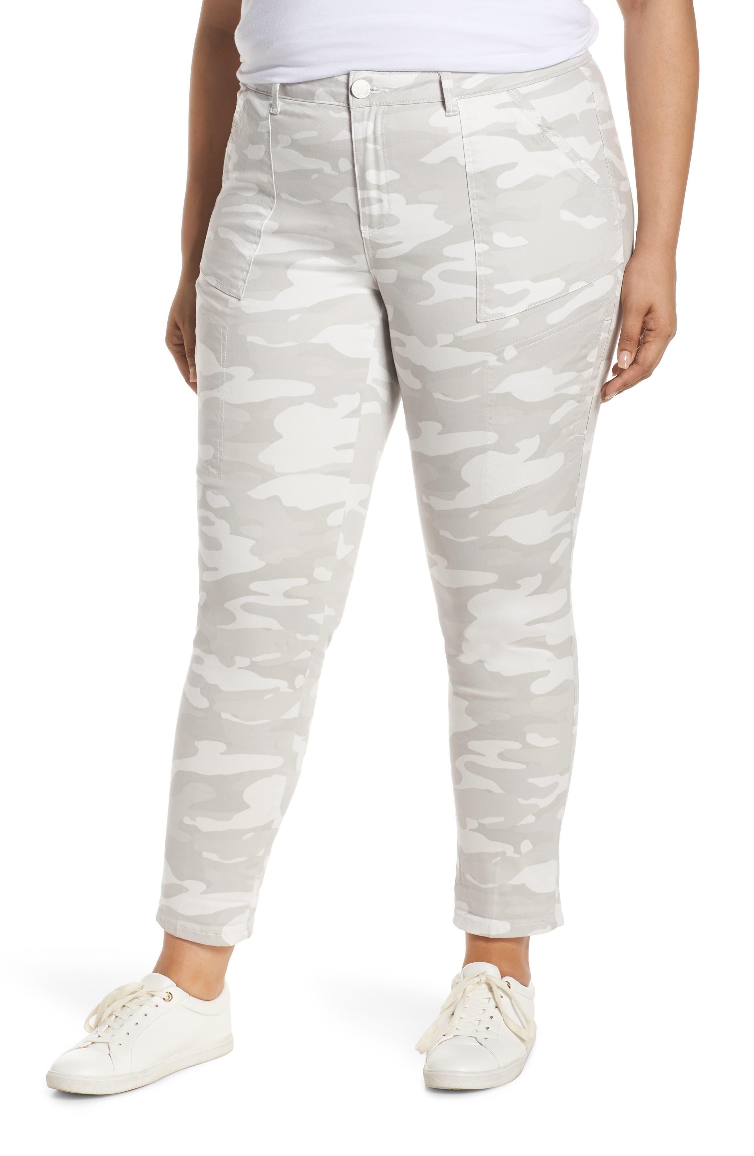 Plus Size Wit & Wisdom Flex-Ellent High Waist Stretch Cotton Cargo Pants, Grey