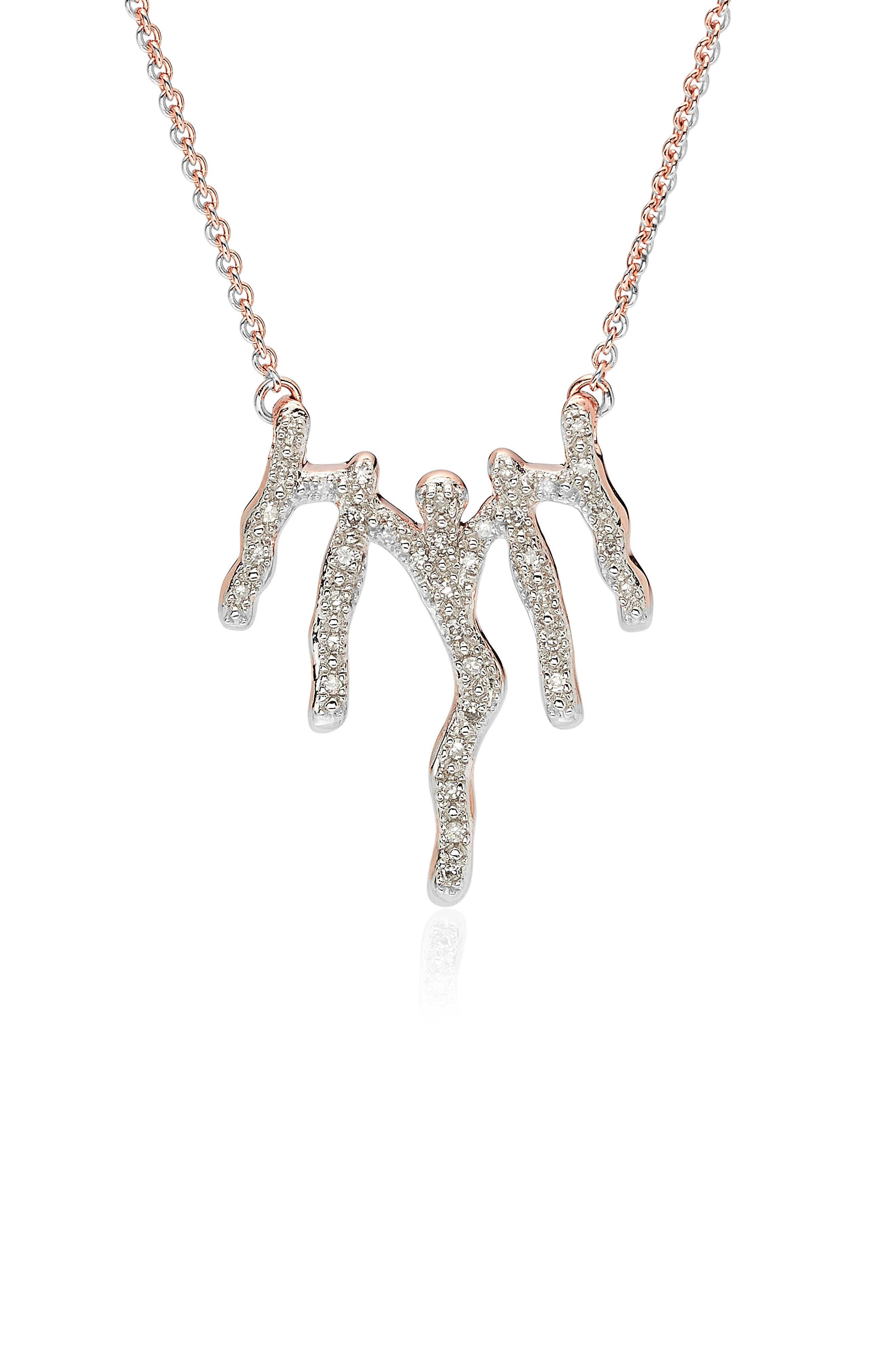 MONICA VINADER, Riva Waterfall Diamond Necklace, Main thumbnail 1, color, ROSE GOLD/ DIAMOND