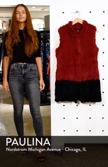 Long Colorblock Genuine Rabbit Fur Vest, sales video thumbnail