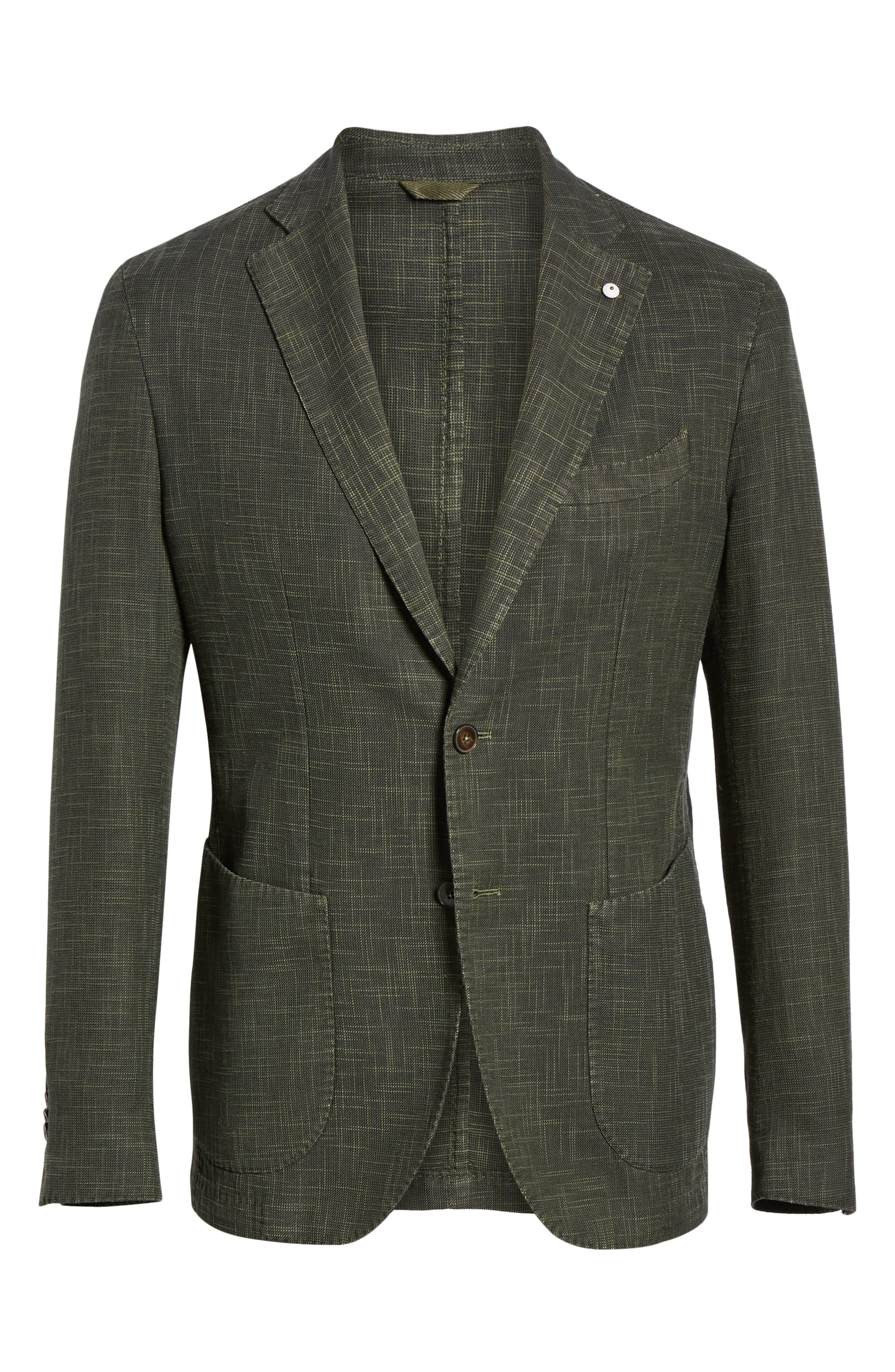 L.B.M. 1911, Trim Fit Cotton Blend Sport Coat, Alternate thumbnail 6, color, DARK GREEN