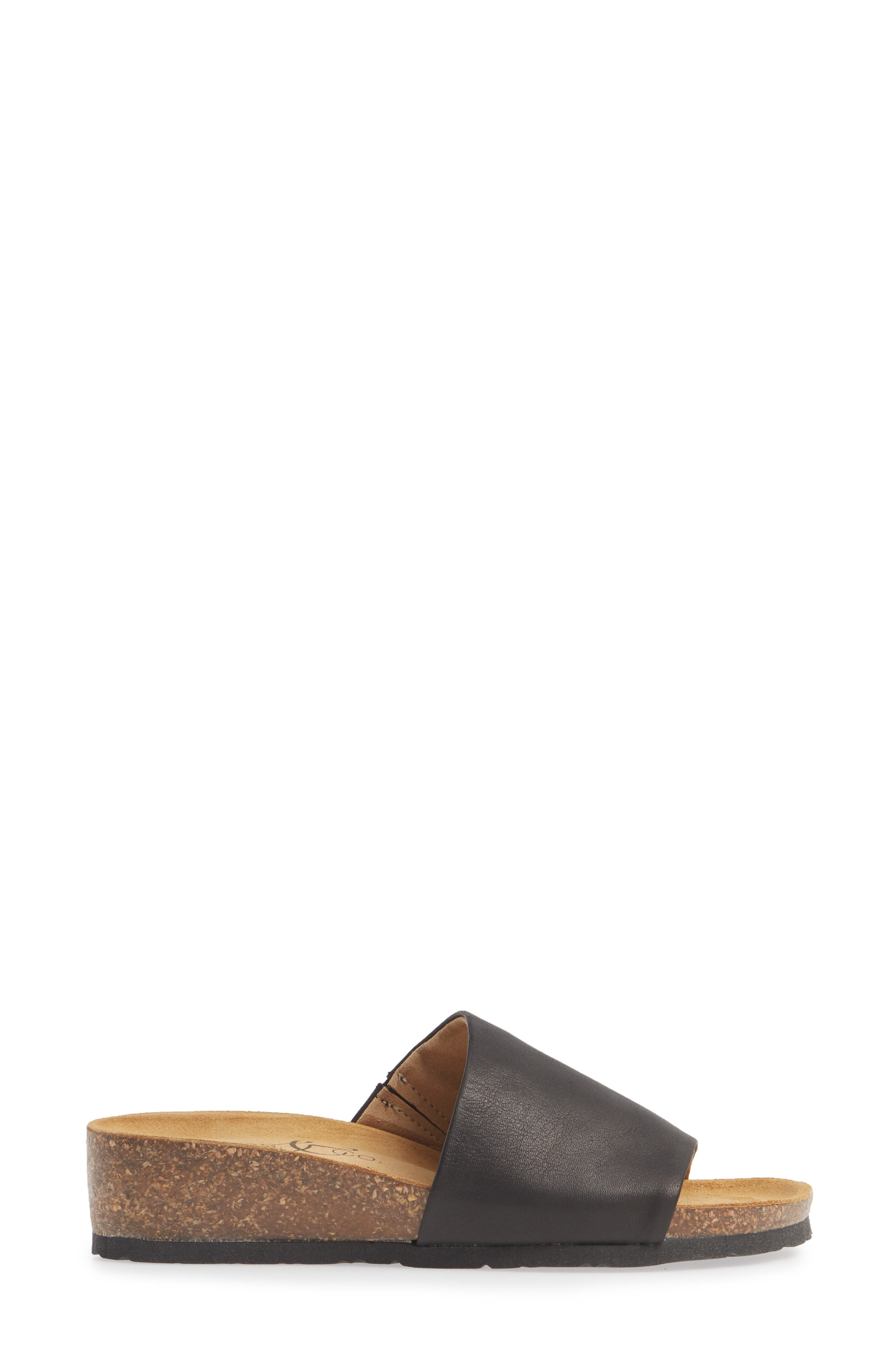 BOS. & CO., Lux Slide Sandal, Alternate thumbnail 3, color, BLACK NAPPA LEATHER