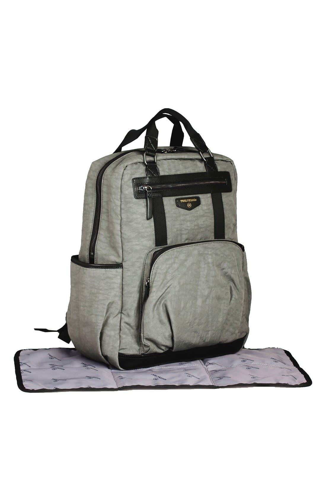TWELVELITTLE, 'Courage' Unisex Backpack Diaper Bag, Alternate thumbnail 8, color, DARK GREY