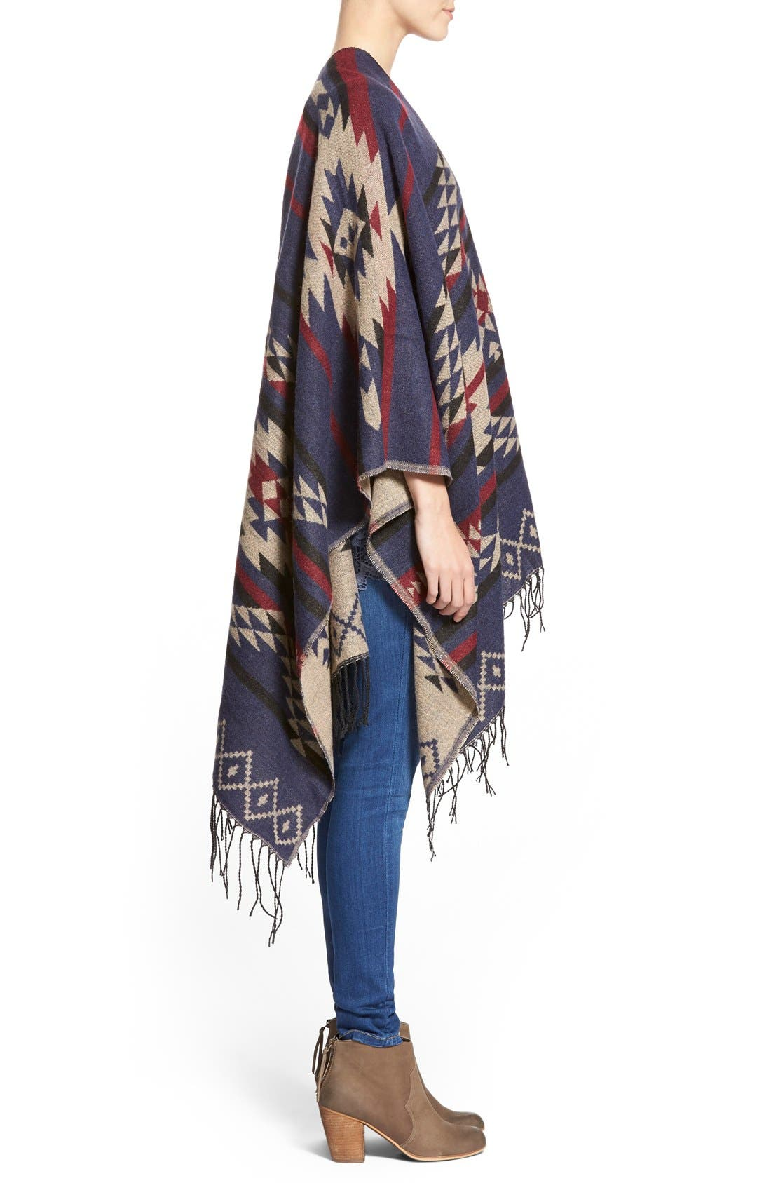 BP., Reversible Geometric Pattern Poncho, Alternate thumbnail 4, color, 900