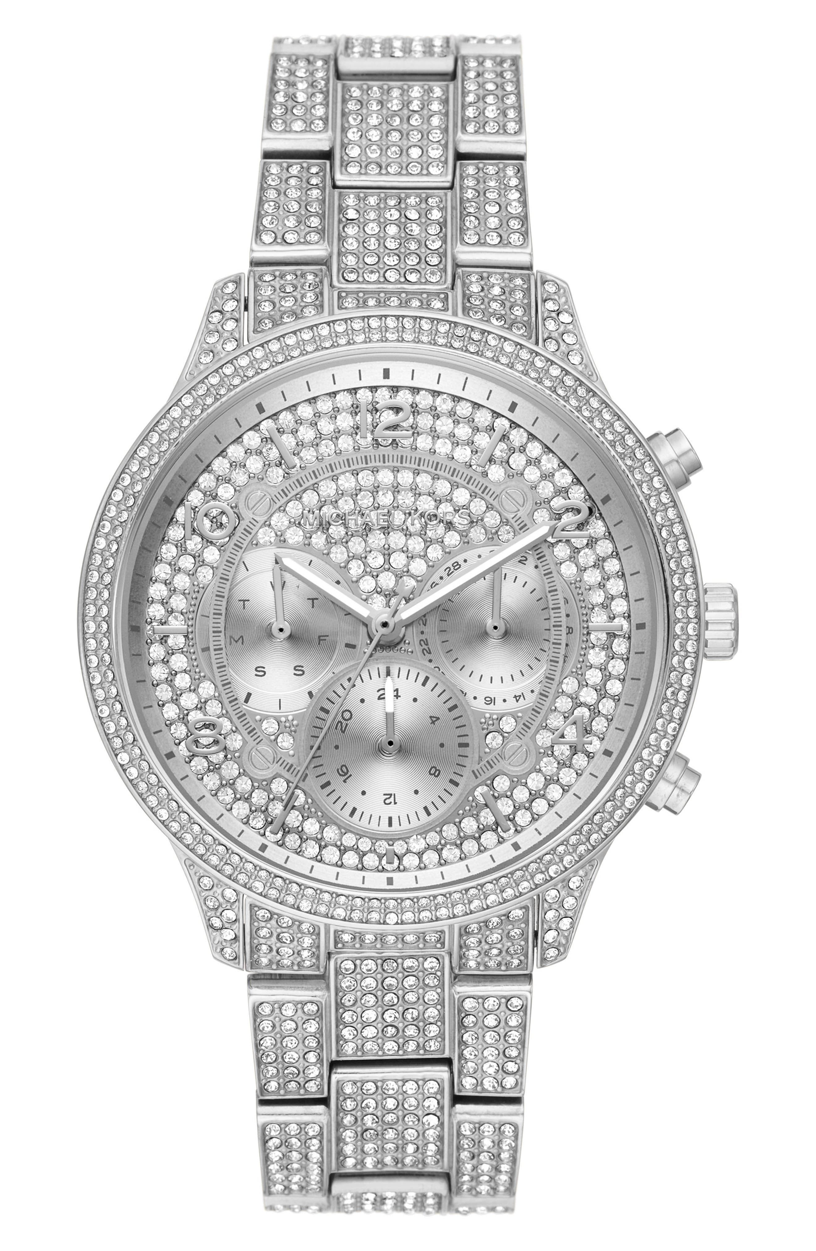 MICHAEL MICHAEL KORS, Runway Crystals Bracelet Watch, 43mm, Main thumbnail 1, color, SILVER