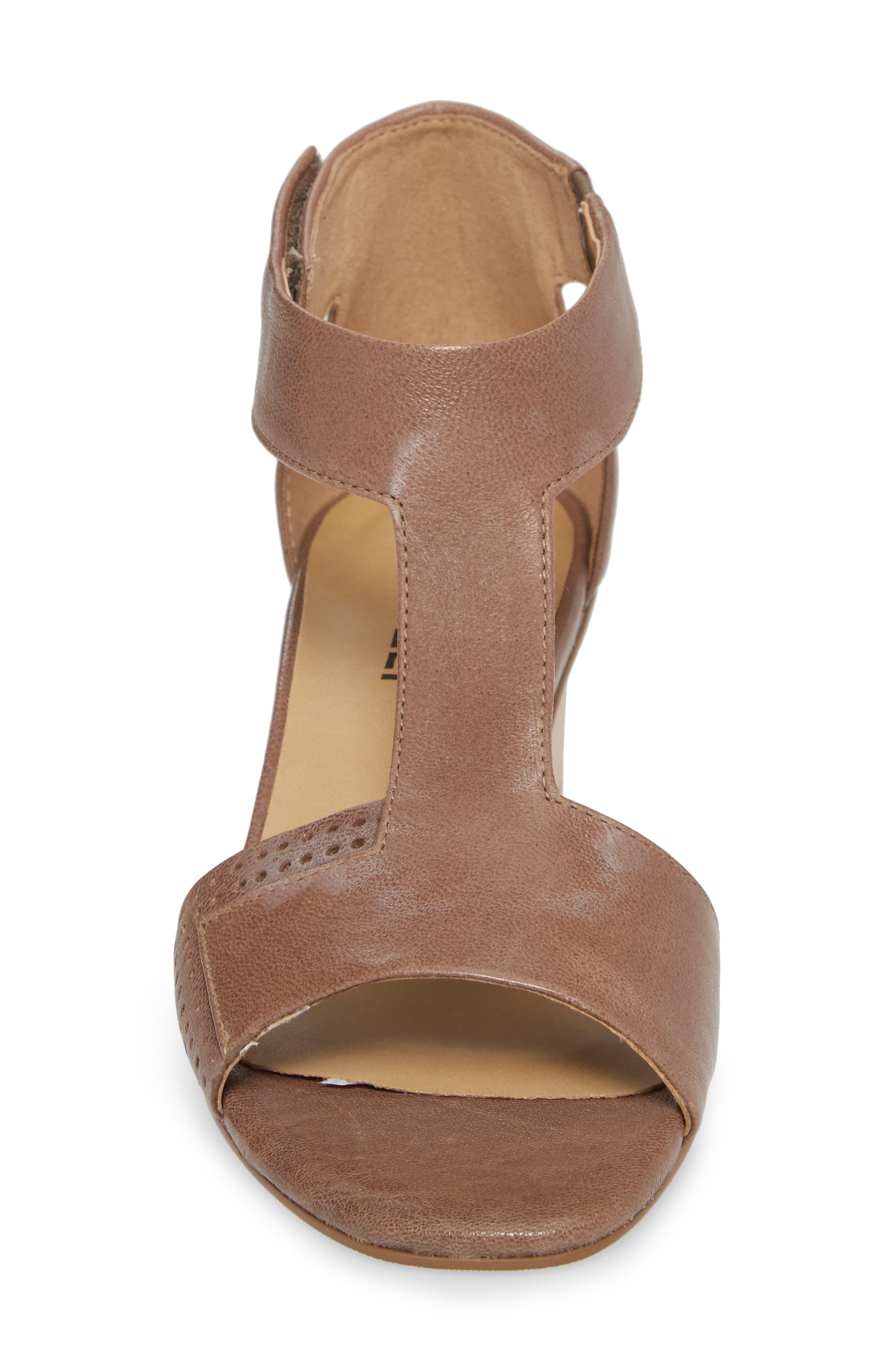 VANELI, Calyx Block Heel Sandal, Alternate thumbnail 4, color, STONE LEATHER
