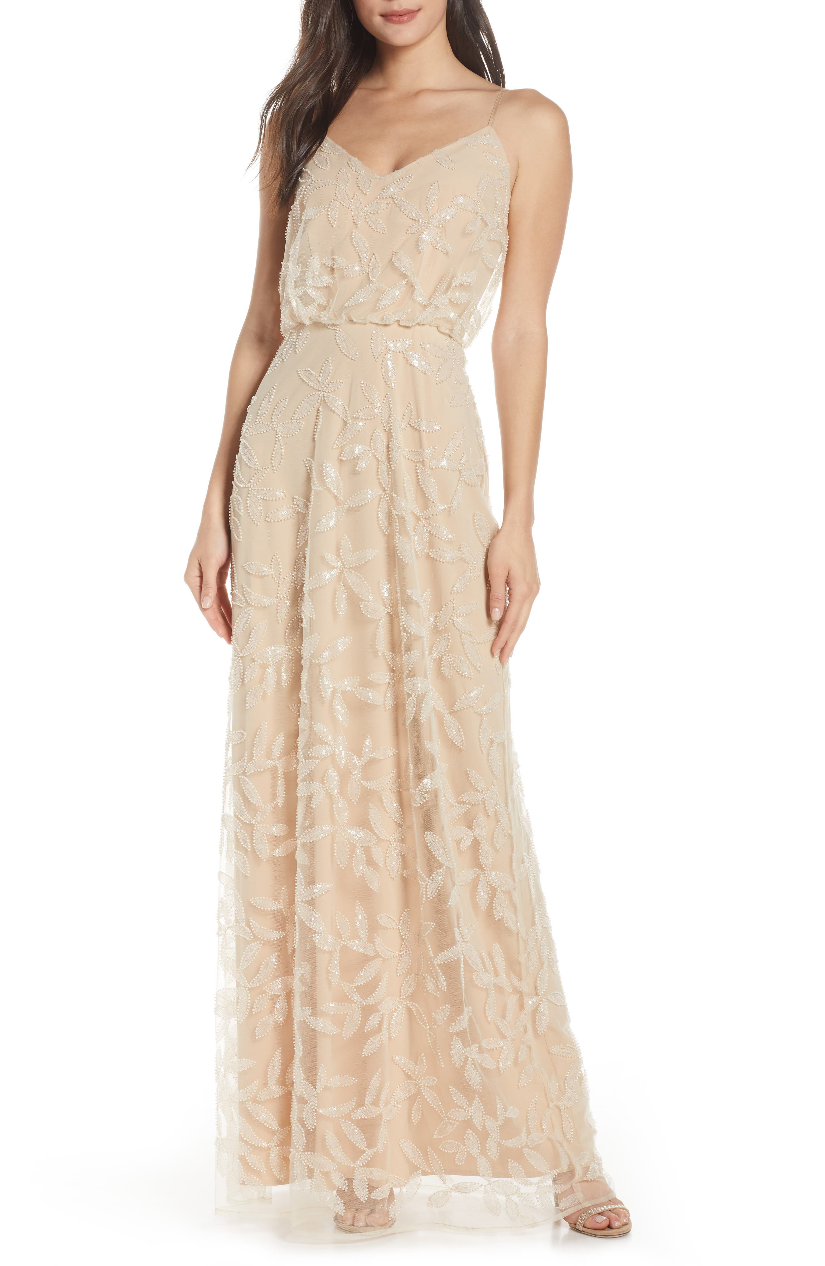 Wayf The Savannah Blouson Beaded Mesh Evening Dress, Beige