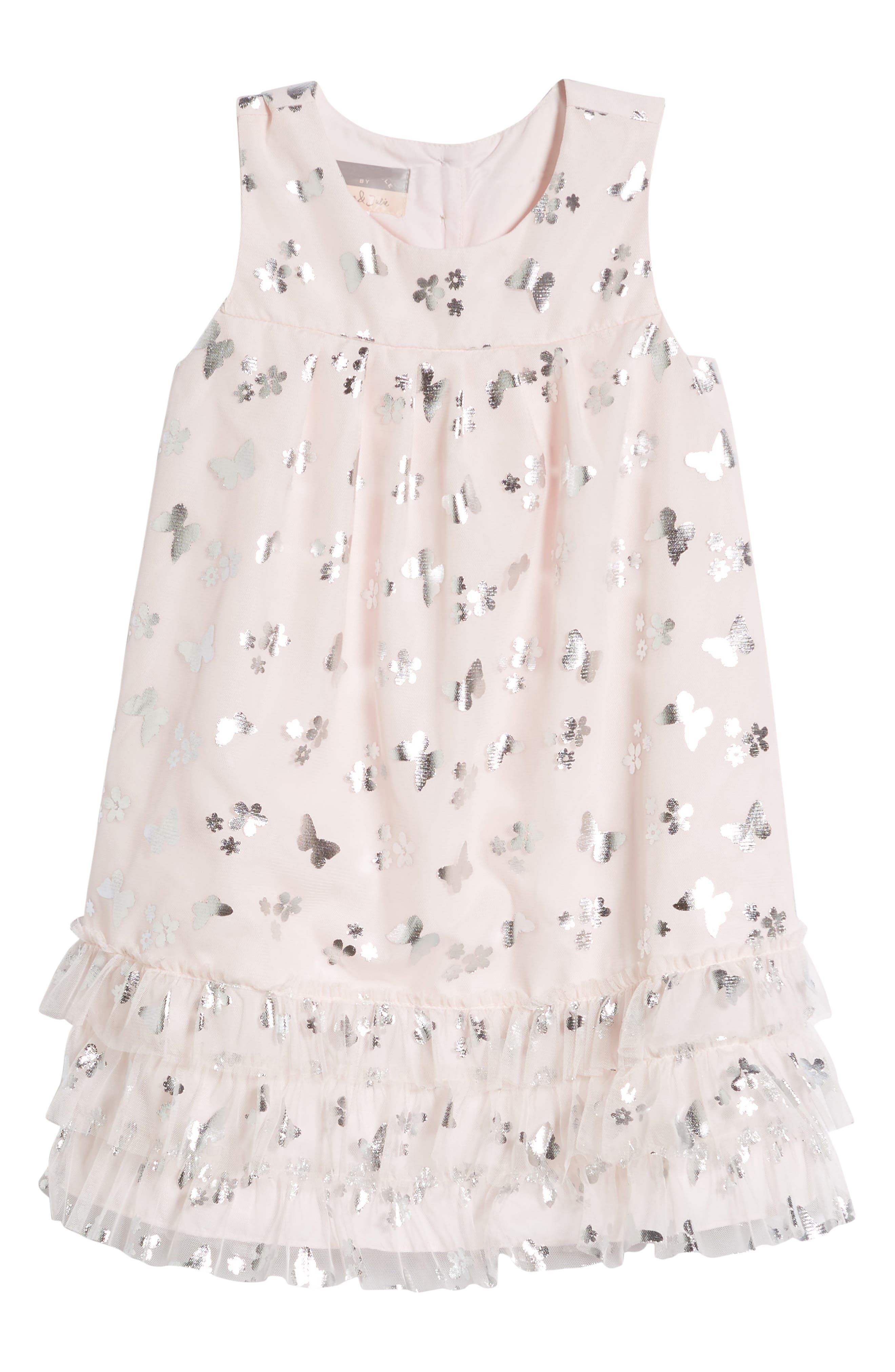 PASTOURELLE BY PIPPA & JULIE Butterfly Trapeze Dress, Main, color, PINK/ SILVER