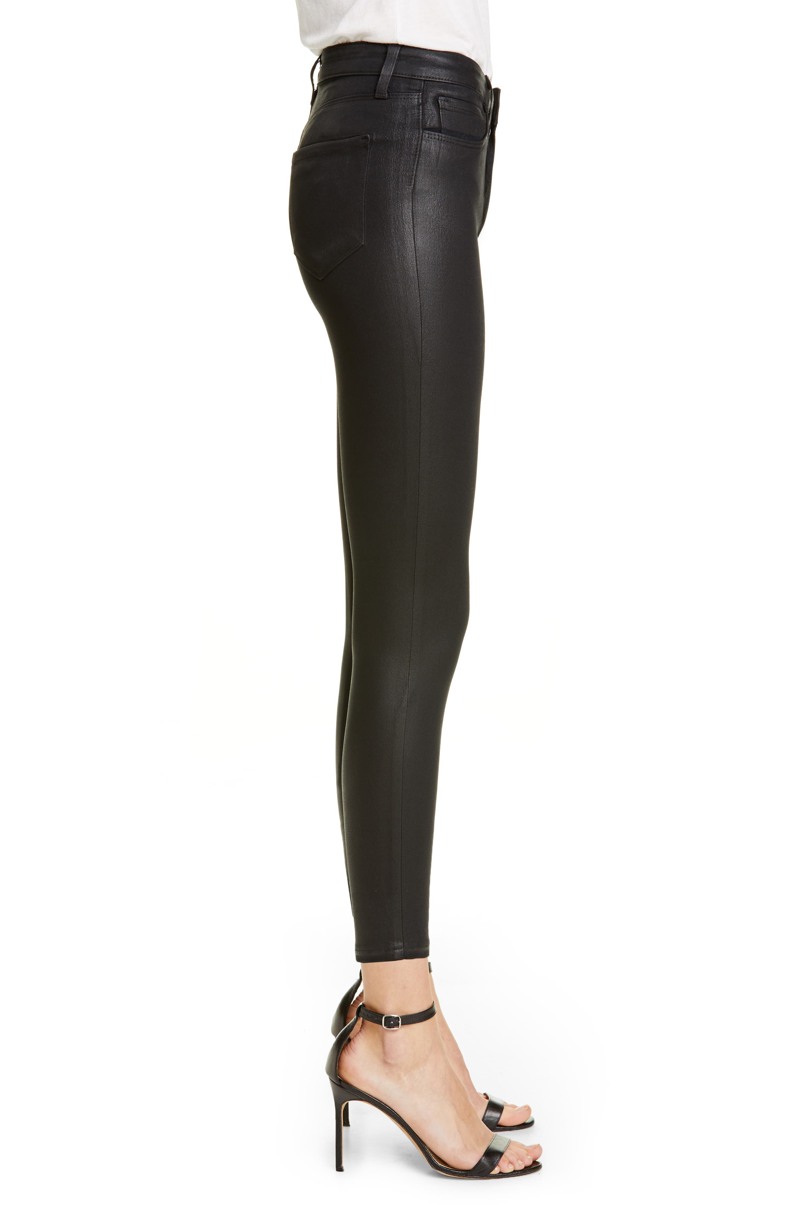 L'AGENCE, Coated High Waist Skinny Jeans, Alternate thumbnail 3, color, BLACK COATED