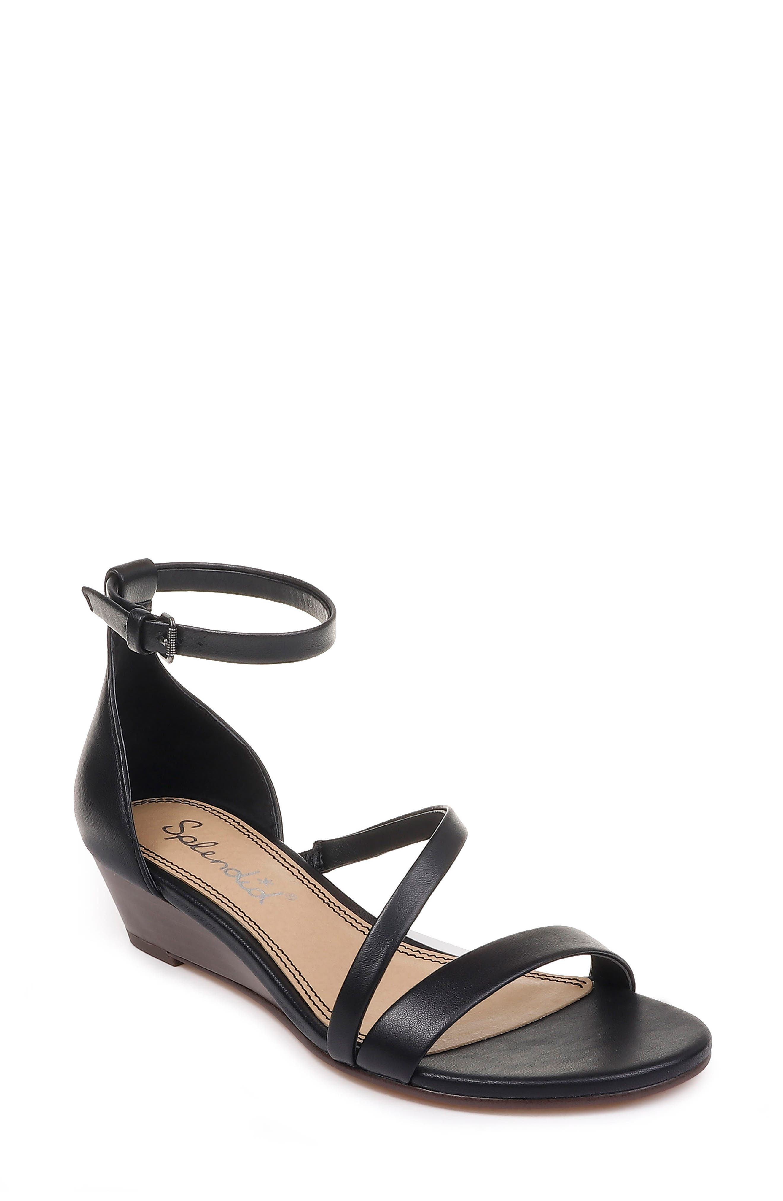 SPLENDID Stefano Strappy Wedge Sandal, Main, color, BLACK LEATHER