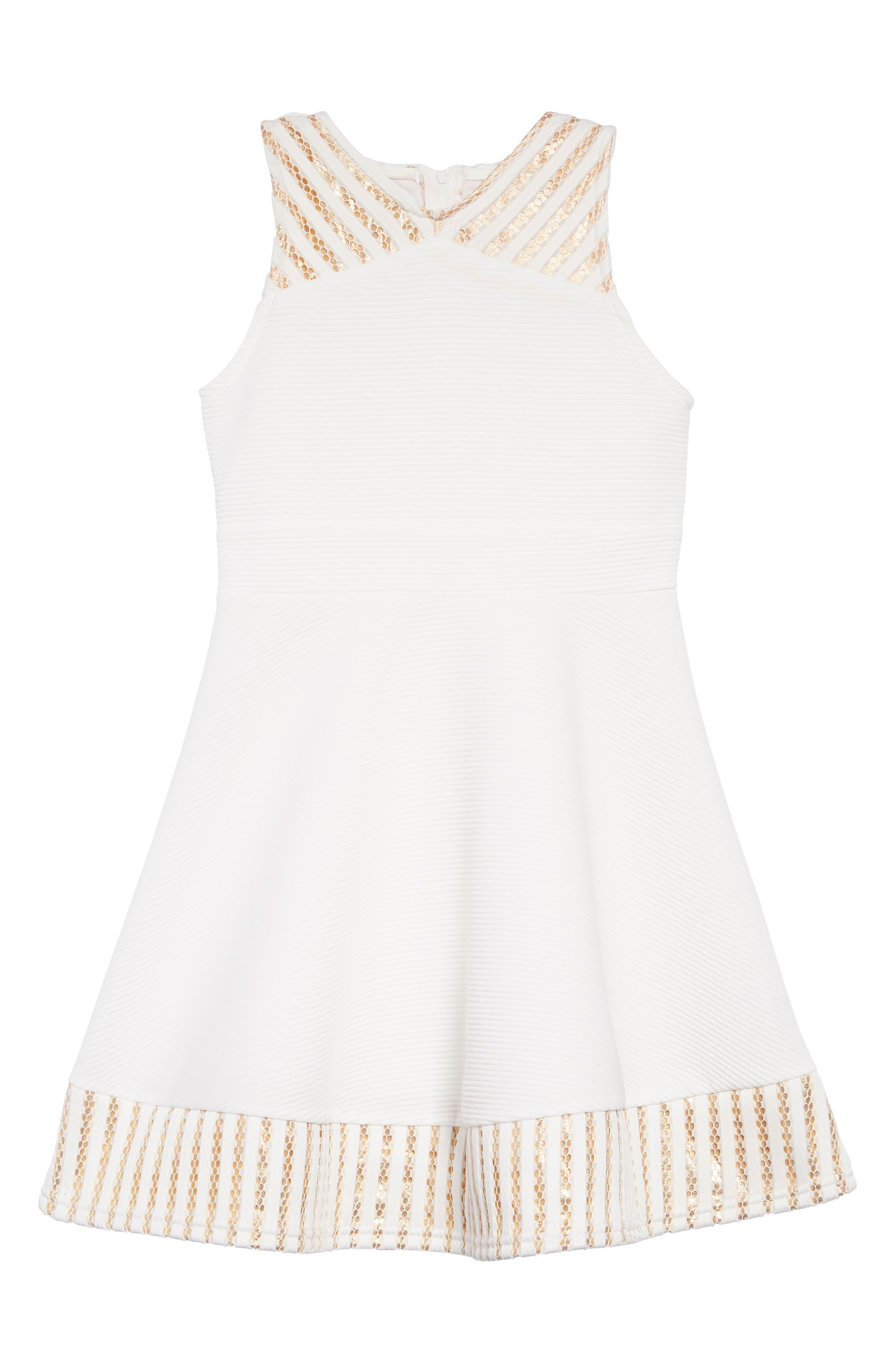 ZUNIE Metallic Trim Ribbed Skater Dress, Main, color, WHITE/GOLD