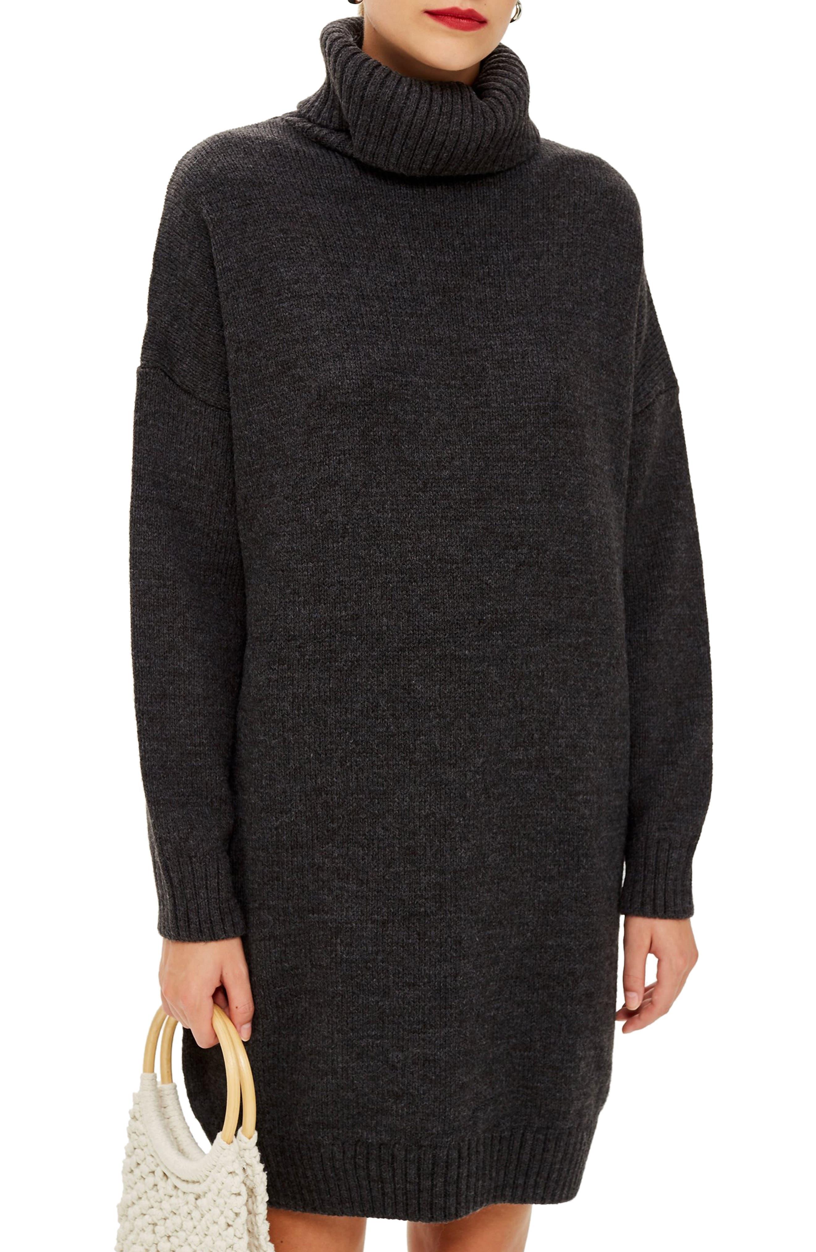 TOPSHOP, Turtleneck Sweater Dress, Main thumbnail 1, color, 021