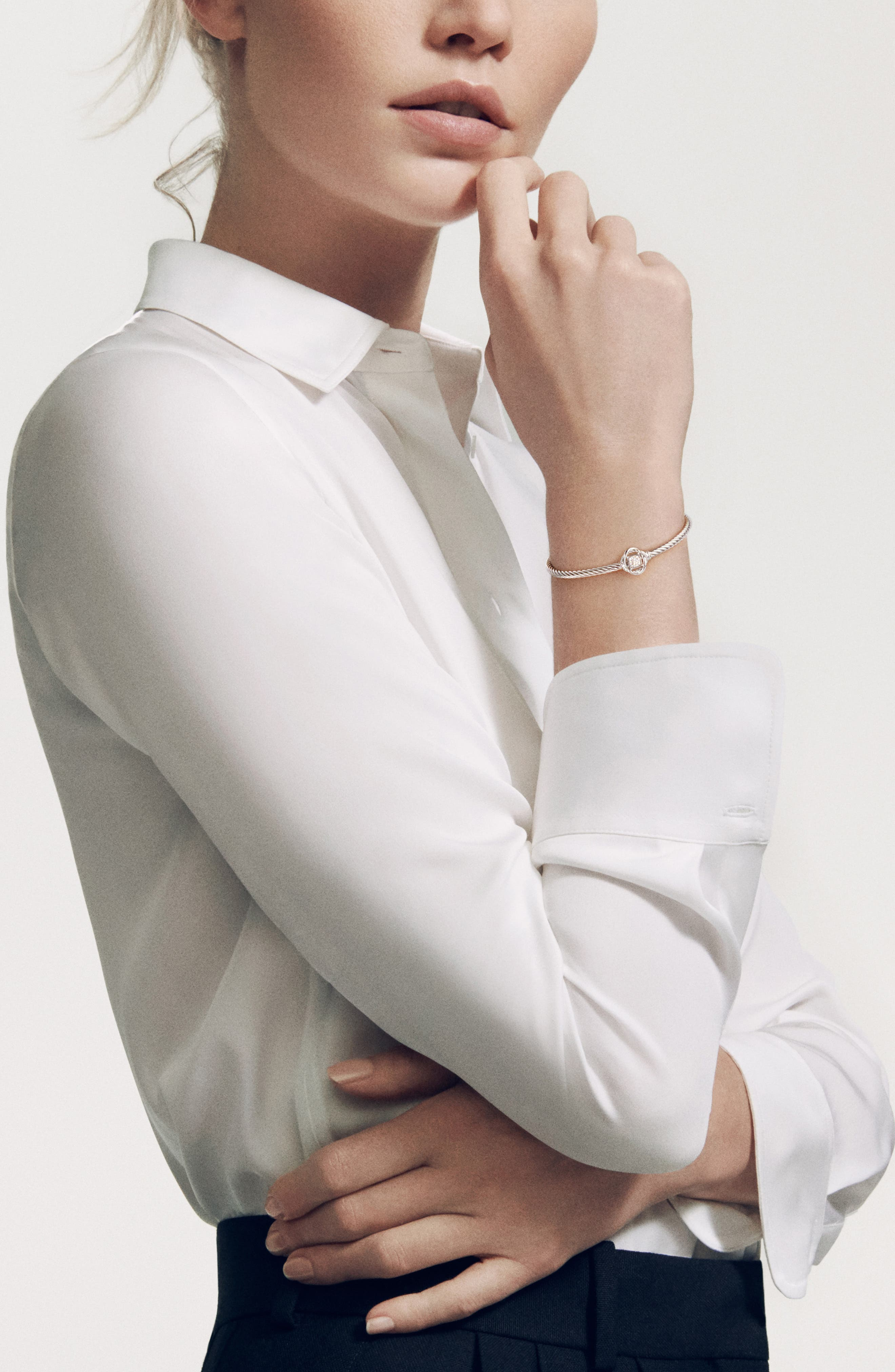DAVID YURMAN, 'Infinity' Bracelet with Diamonds, Alternate thumbnail 2, color, DIAMOND
