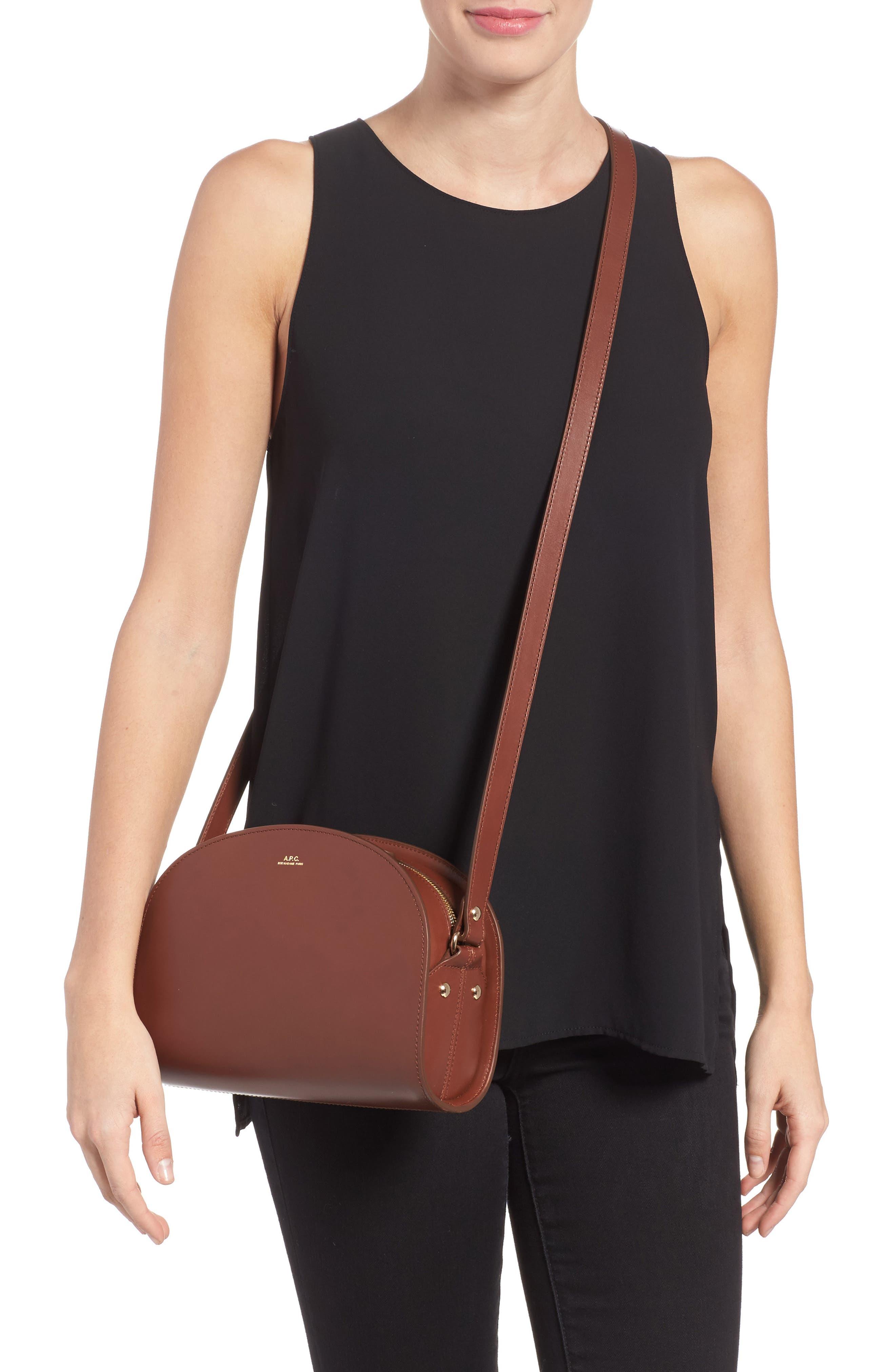 A.P.C., 'Sac Demi Lune' Leather Crossbody Bag, Alternate thumbnail 2, color, NOISETTE