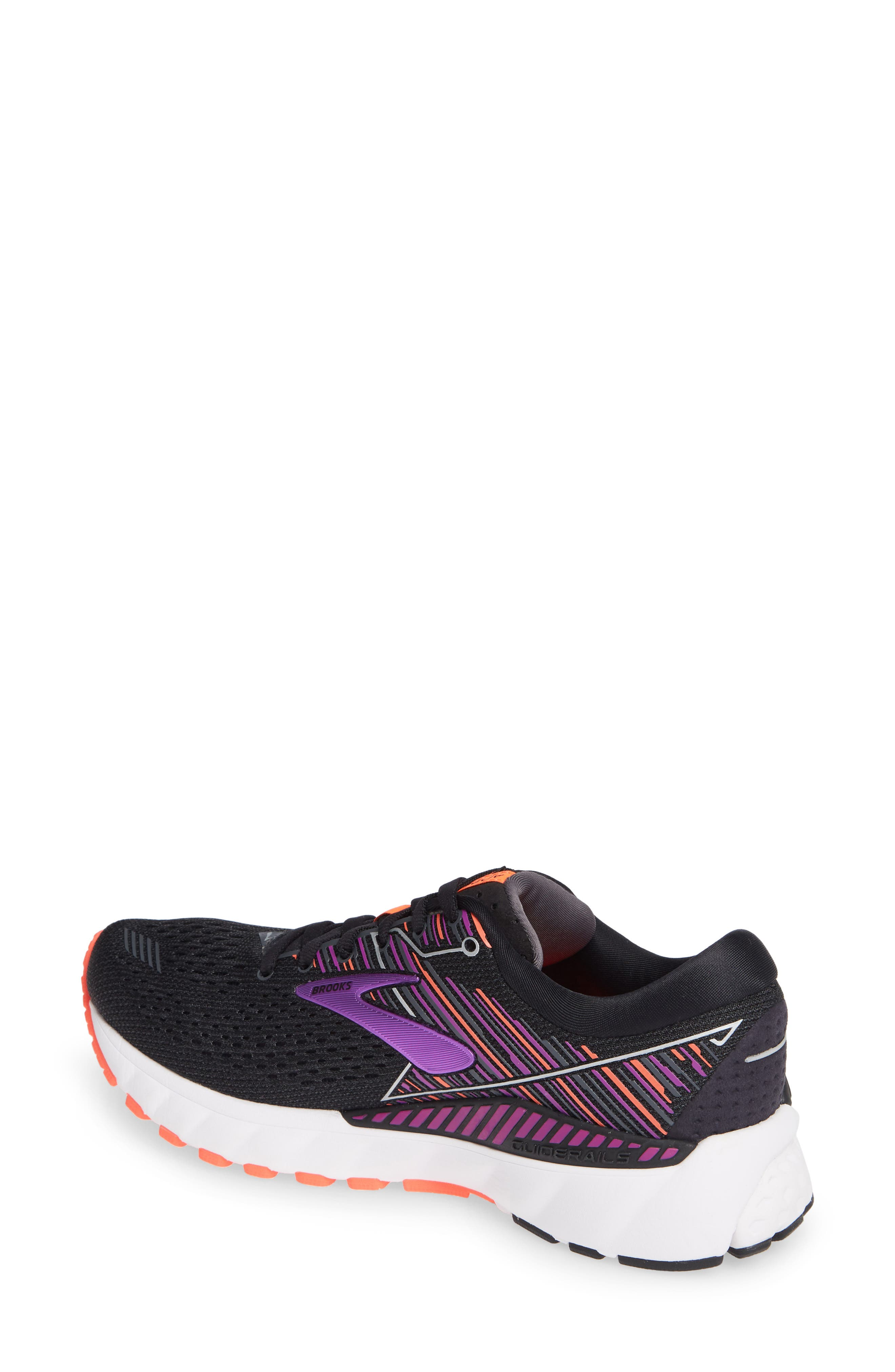 BROOKS, Adrenaline GTS 19 Running Shoe, Alternate thumbnail 2, color, BLACK/ PURPLE/ CORAL