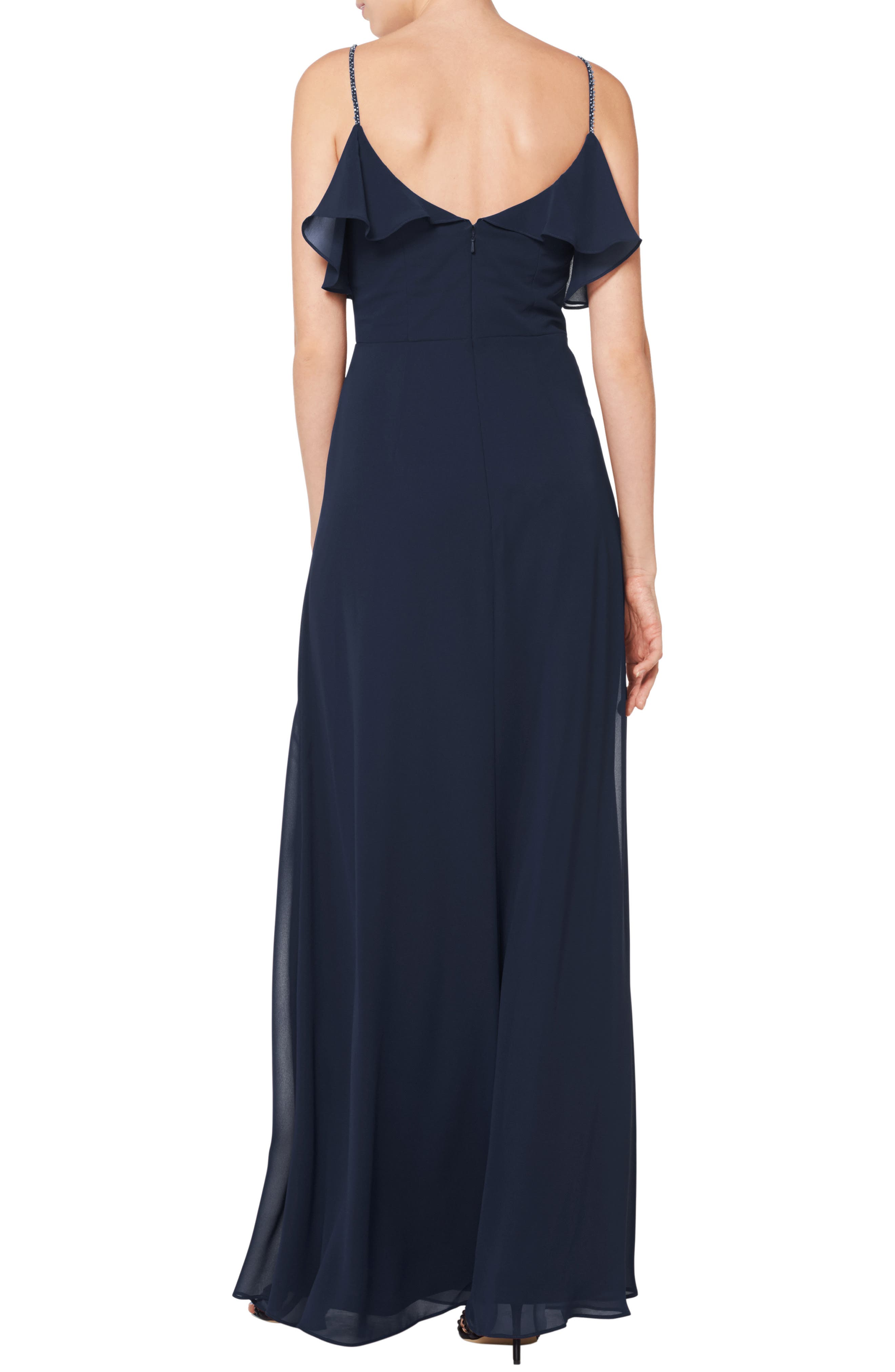 #LEVKOFF, Jeweled Strap Ruffle Neck Chiffon Gown, Alternate thumbnail 2, color, NAVY