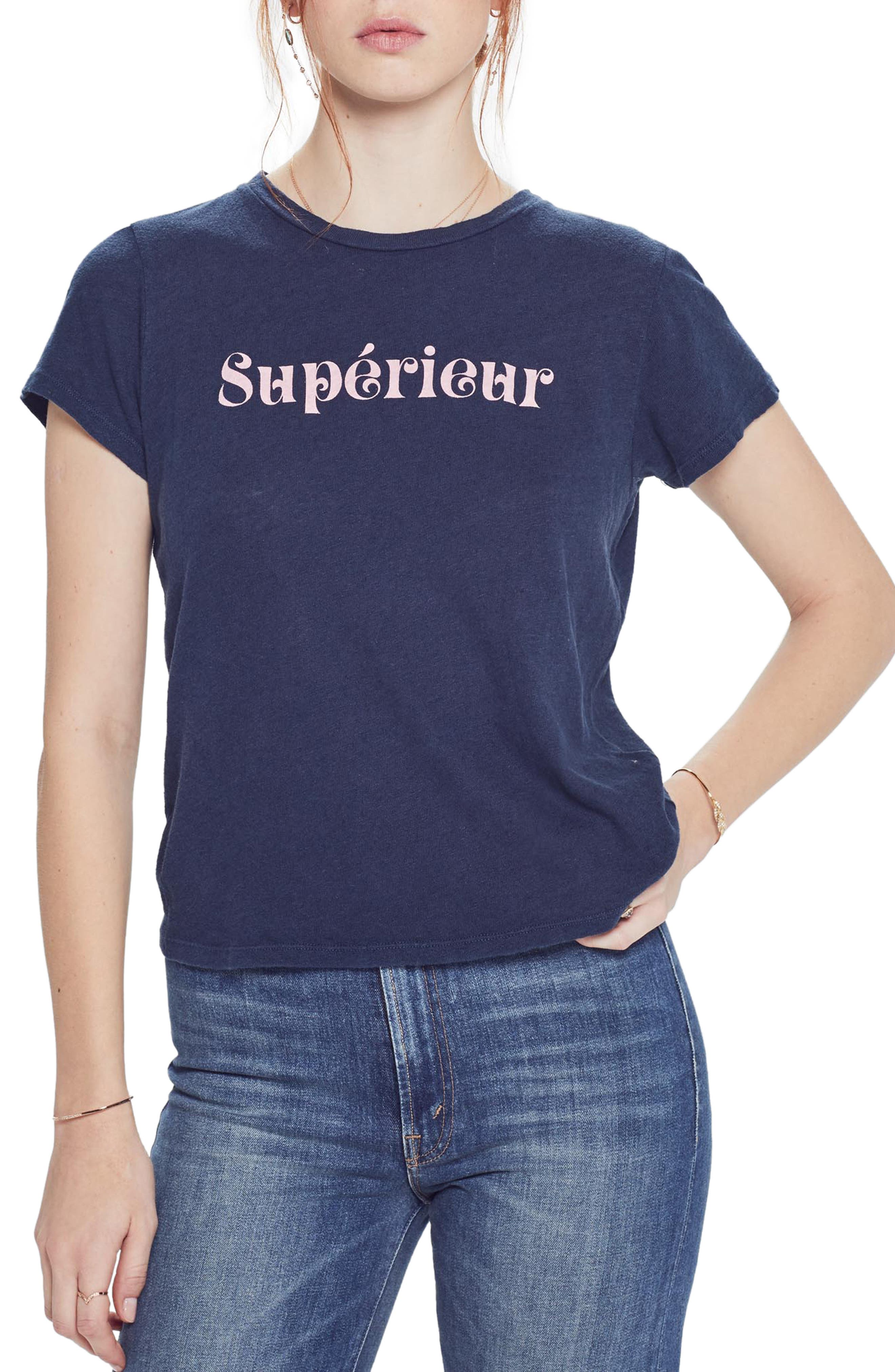 MOTHER The Sinful Supérieur Tee, Main, color, SUPERIUER NAVY