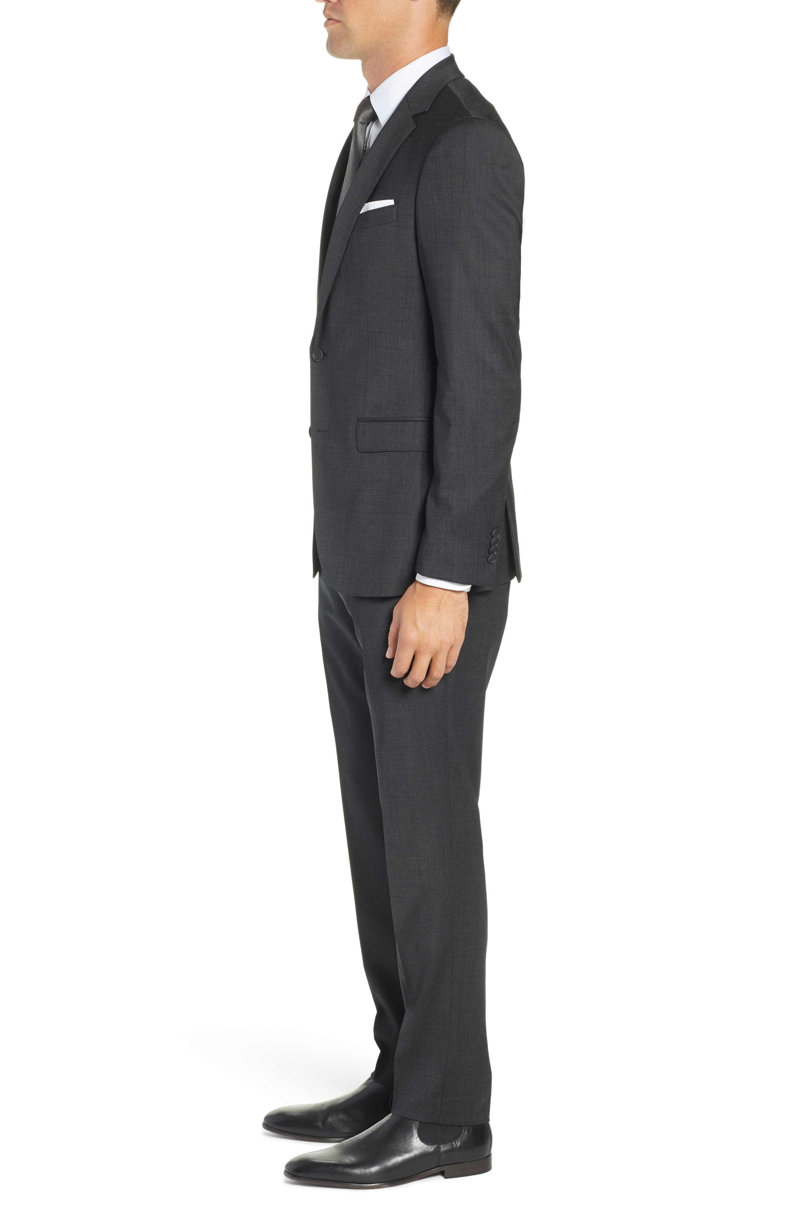 BOSS, Nestro/Byte Trim Fit Stretch Solid Wool Suit, Alternate thumbnail 3, color, 001