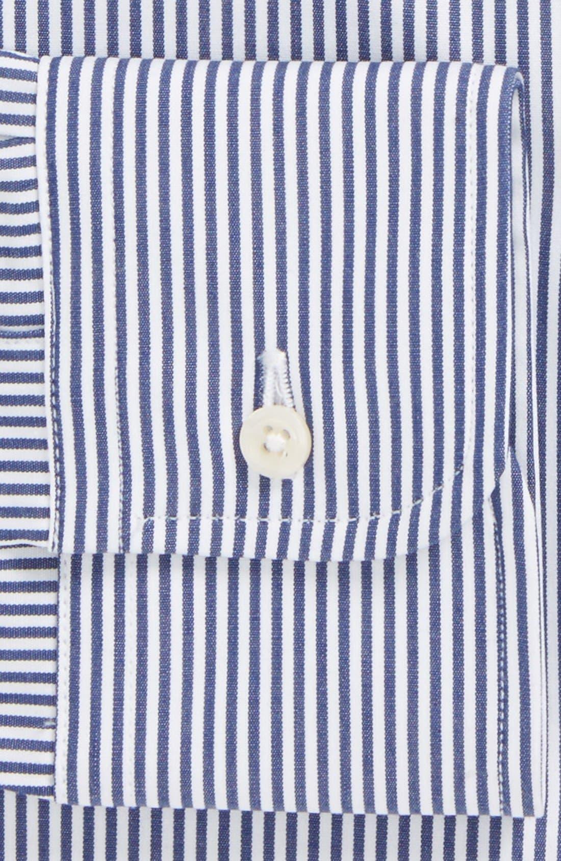 GITMAN, Regular Fit Bengal Stripe Cotton Broadcloth Button Down Dress Shirt, Alternate thumbnail 2, color, NAVY