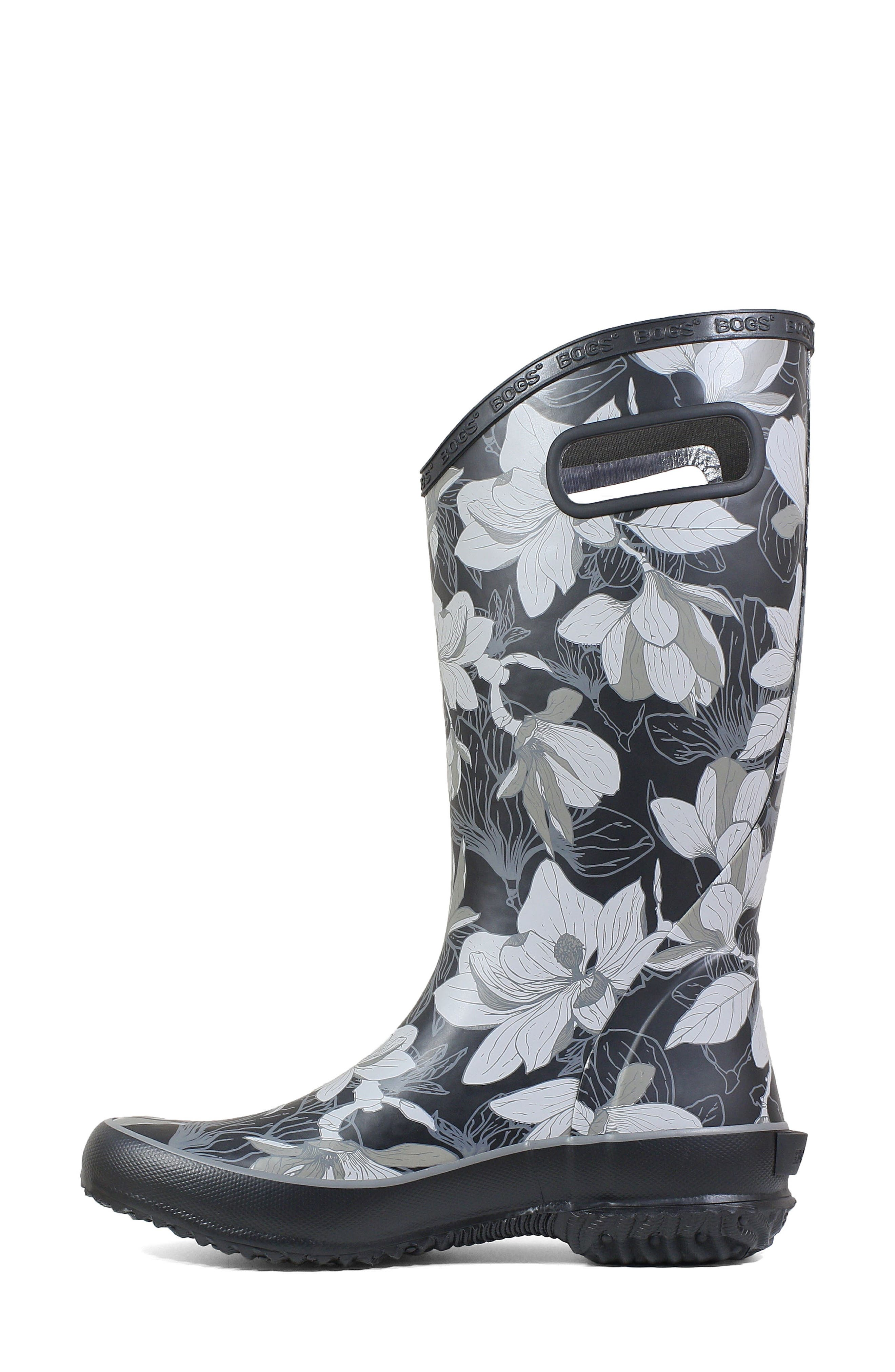 BOGS, Classic Tall Waterproof Rain Boot, Alternate thumbnail 8, color, BLACK MULTI RUBBER
