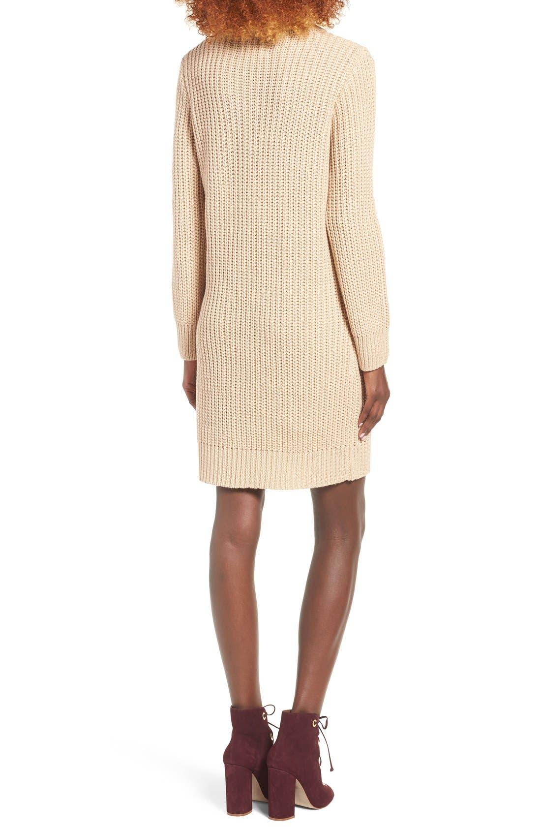 MOON RIVER, Lace-Up Sweater Dress, Alternate thumbnail 9, color, 230