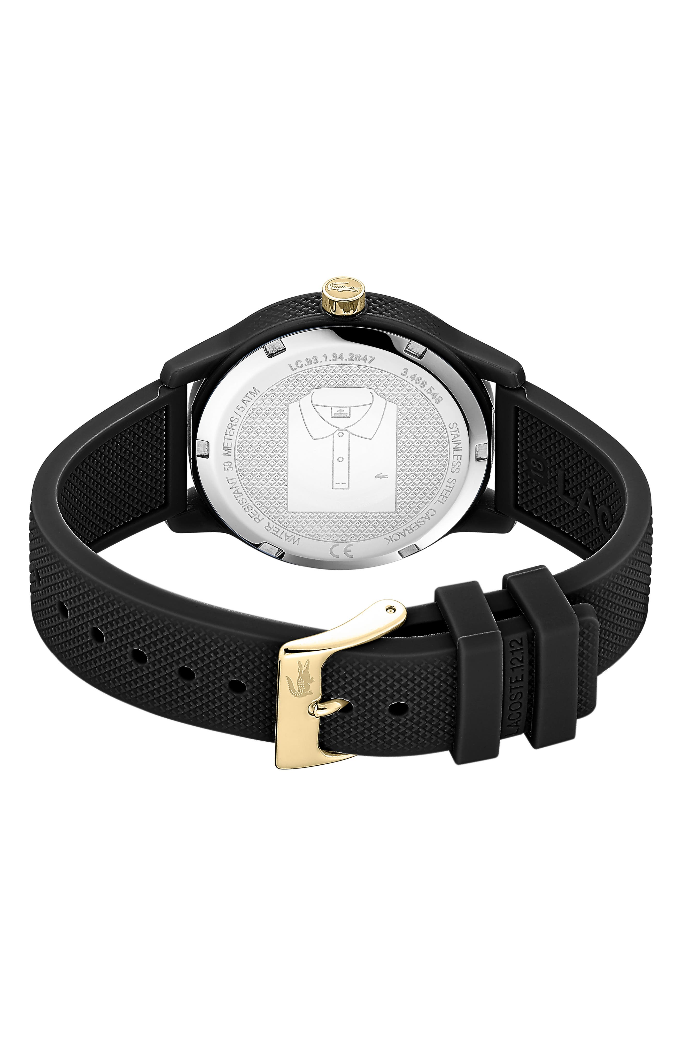 LACOSTE, 12.12 Silicone Strap Watch, 36mm, Alternate thumbnail 2, color, BLACK