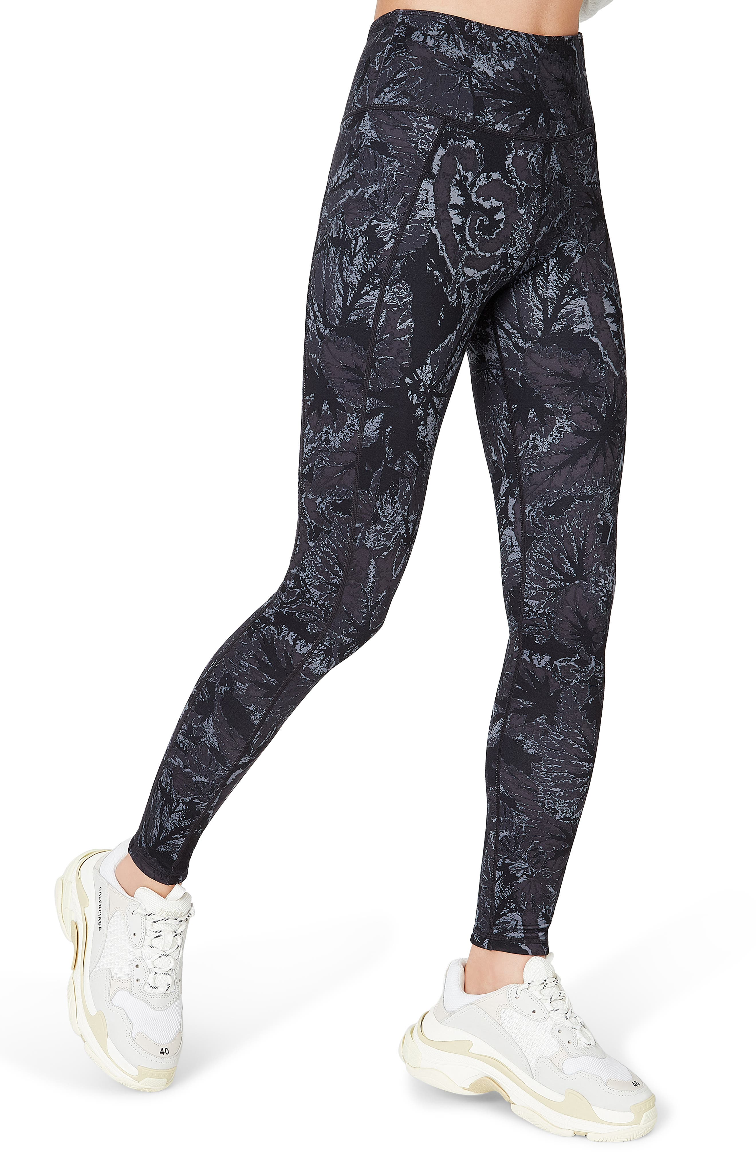 SWEATY BETTY, Reversible Yoga Leggings, Alternate thumbnail 5, color, TONAL BEGONIA PRINT