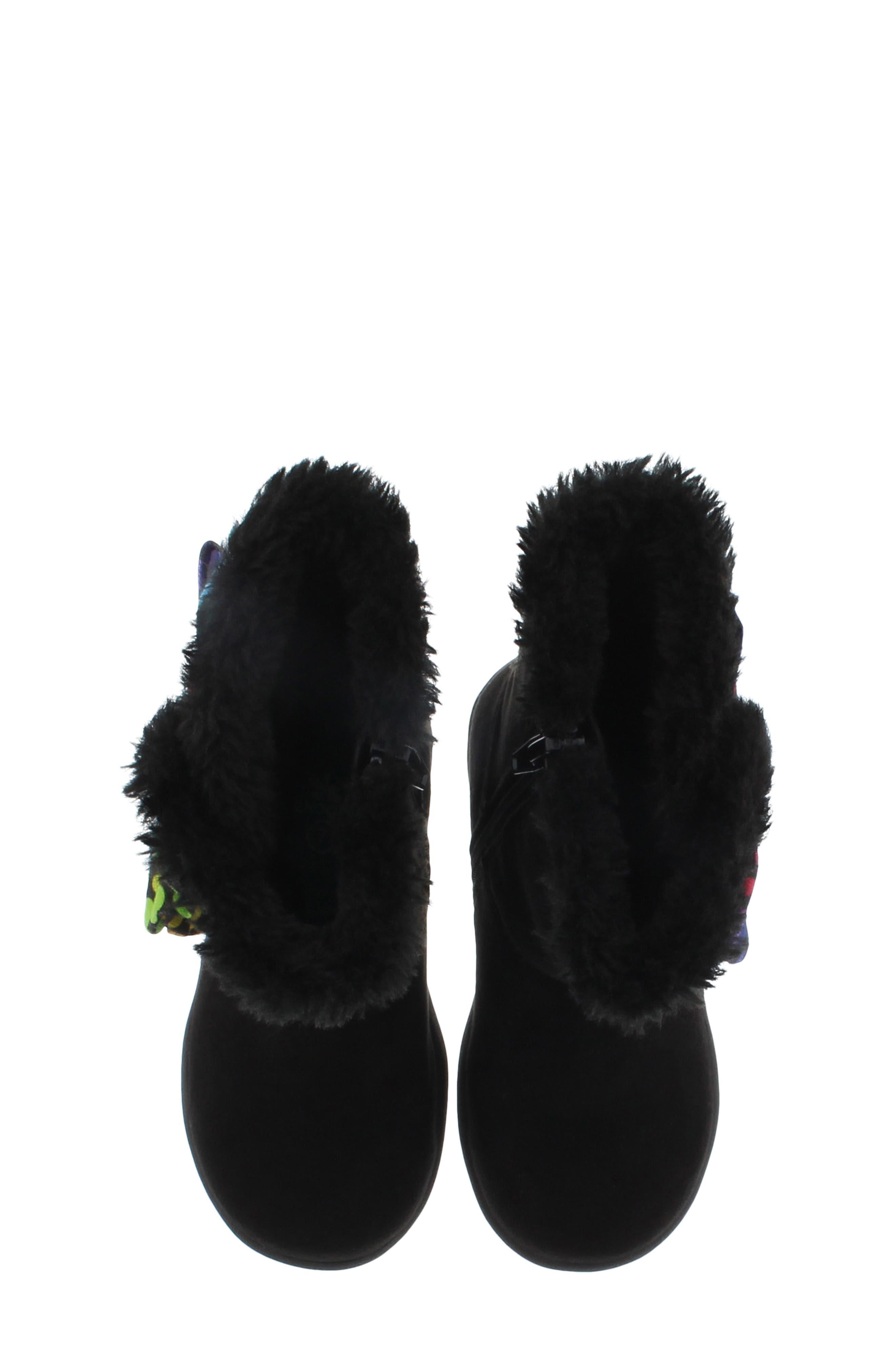 CHOOZE, Wish Faux Fur Lined Boot, Alternate thumbnail 5, color, BLACK