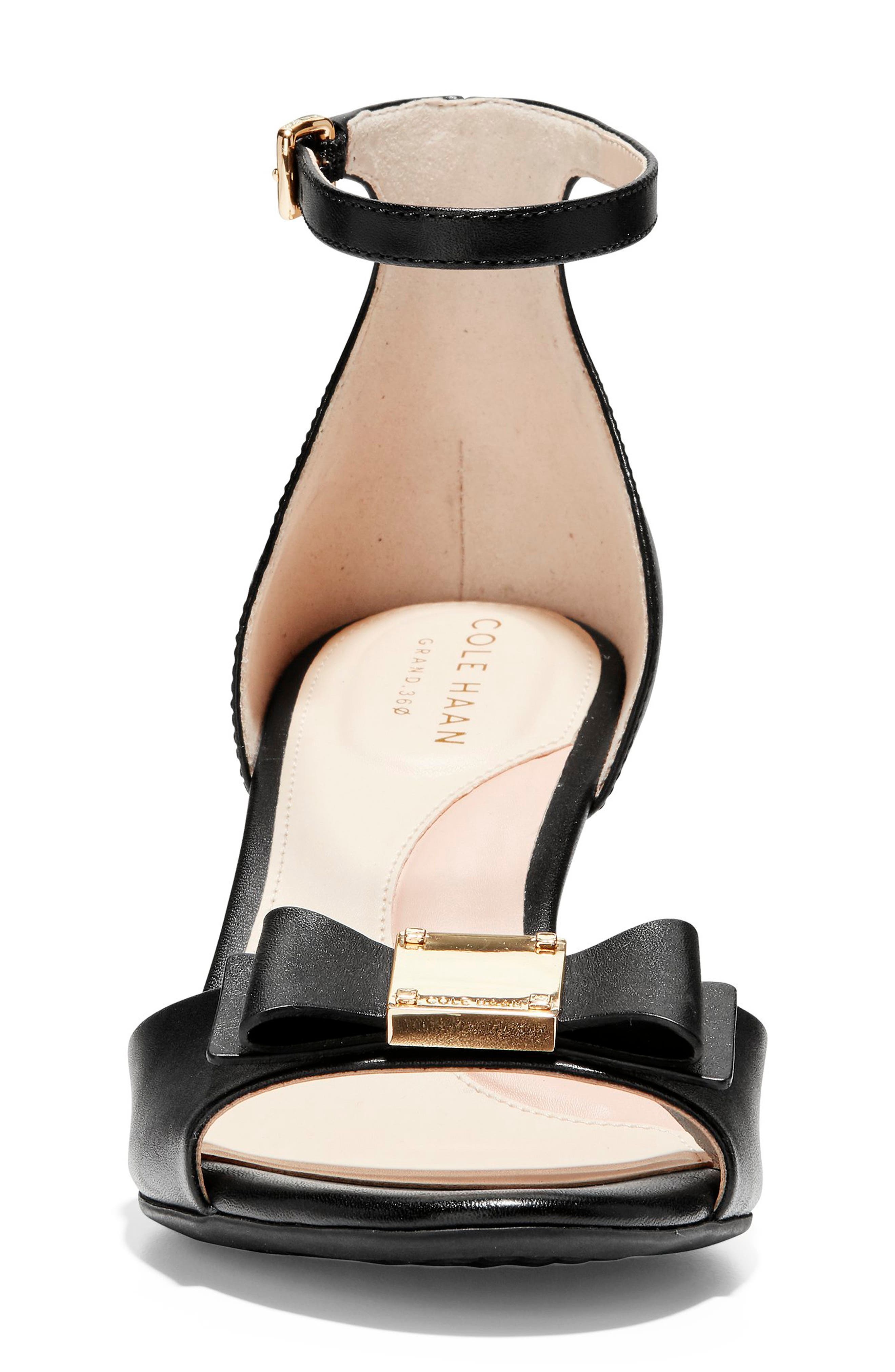 COLE HAAN, Tali Bow Wedge Sandal, Alternate thumbnail 4, color, BLACK LEATHER