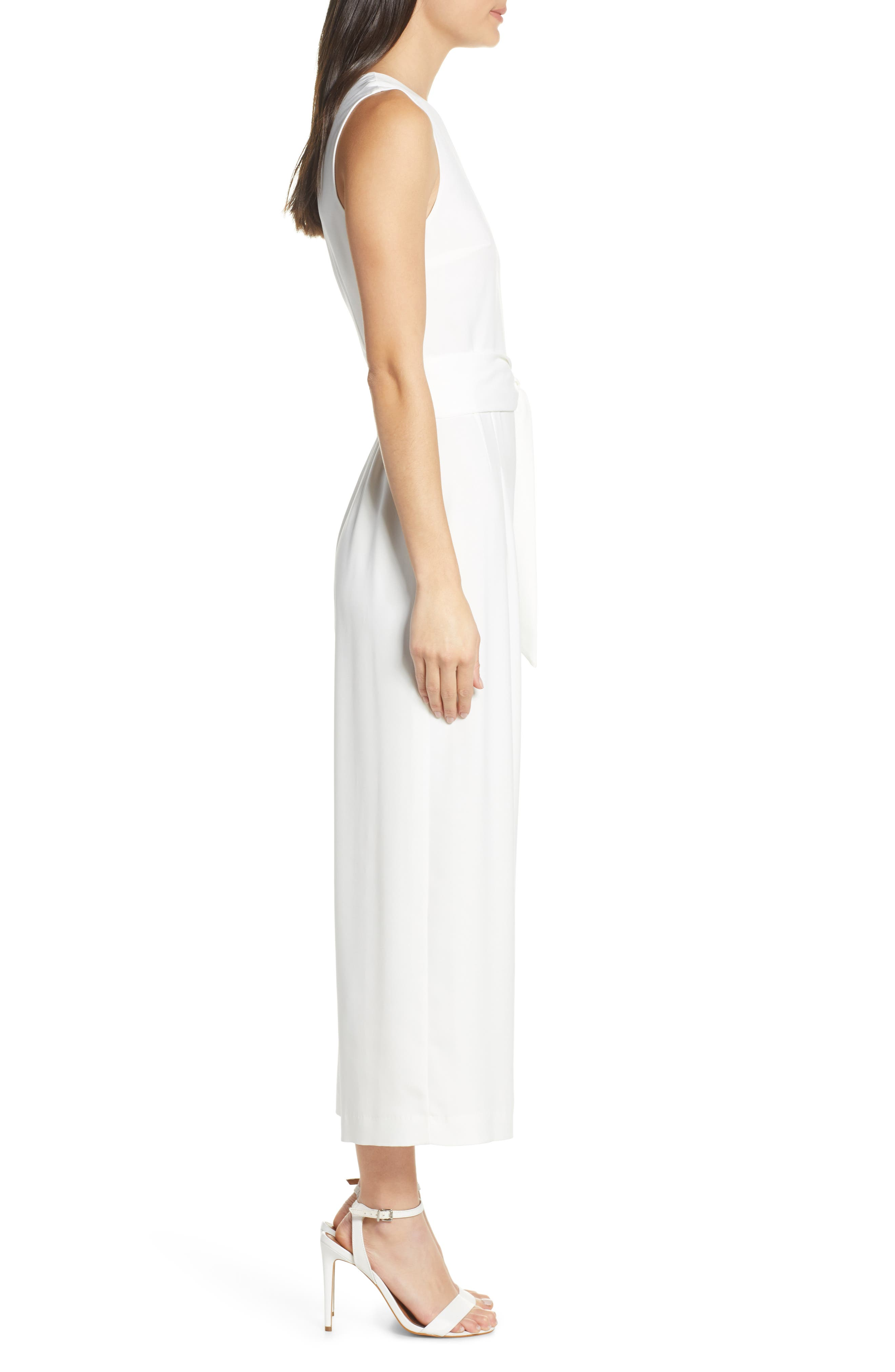 CHARLES HENRY, Sleeveless Culotte Jumpsuit, Alternate thumbnail 4, color, IVORY