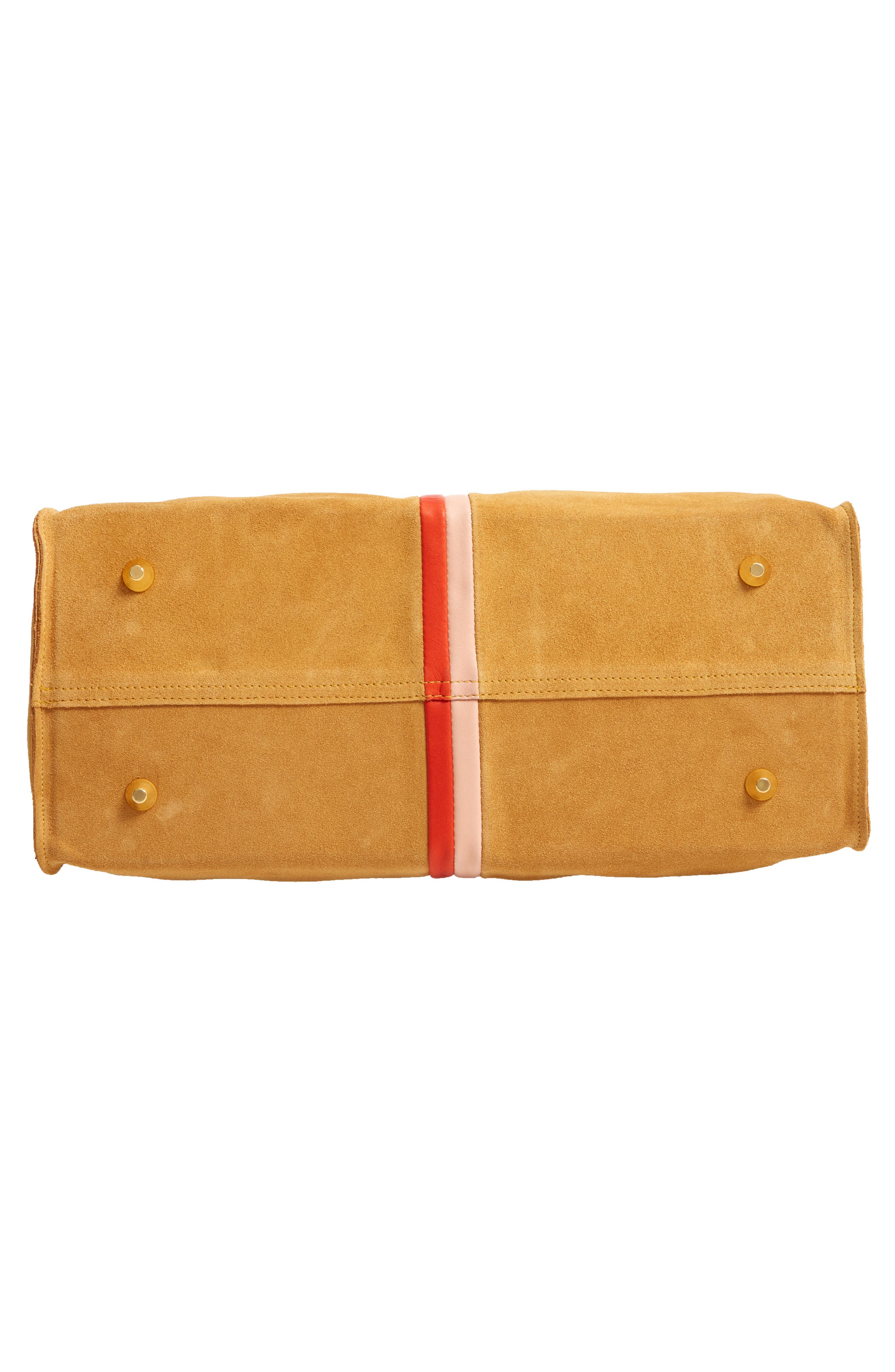 CLARE V., Simple Stripe Suede Tote, Alternate thumbnail 7, color, MUSTARD SUEDE