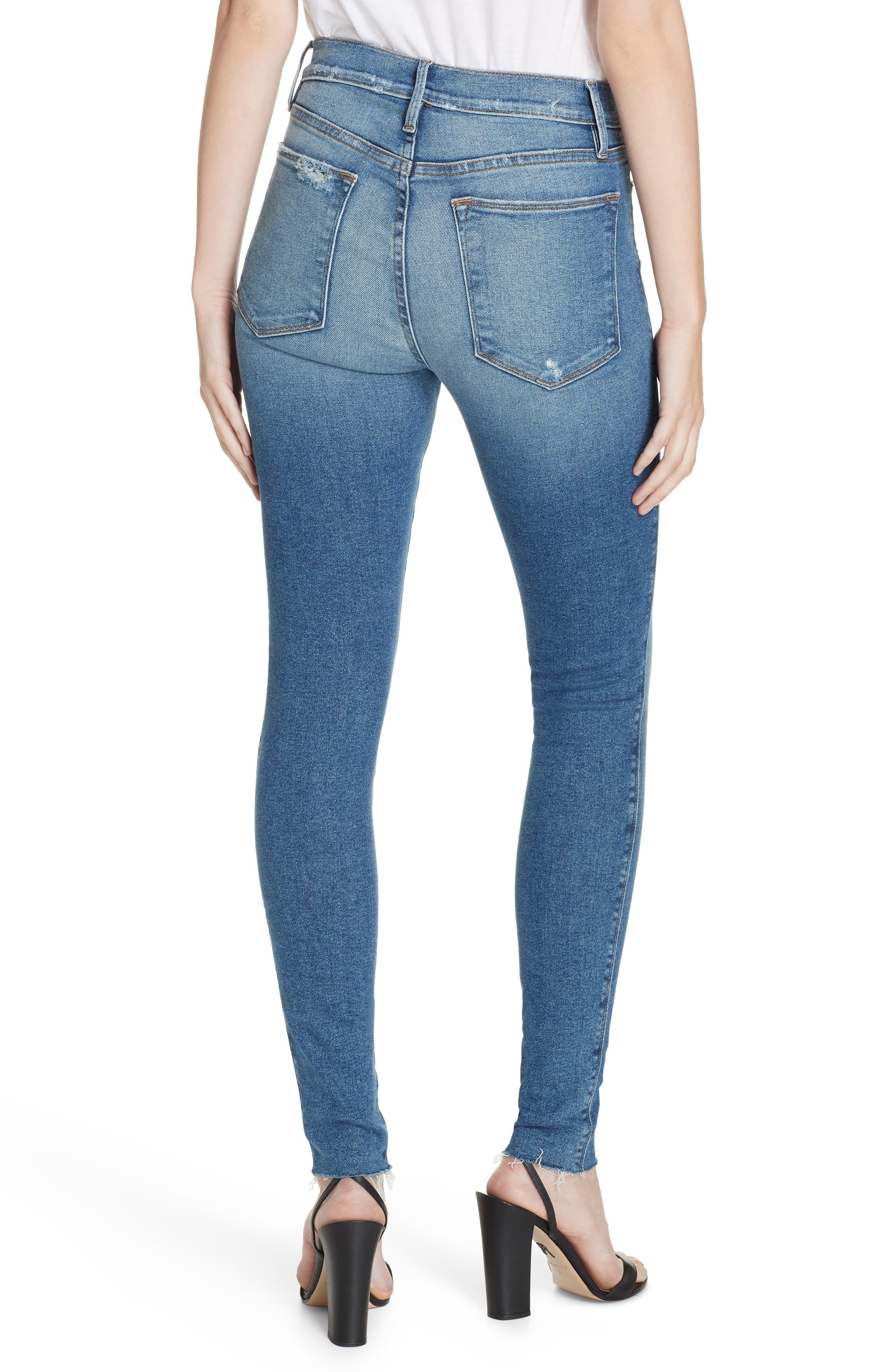 FRAME, Le Skinny de Jeanne High Waist Raw Hem Jeans, Alternate thumbnail 2, color, MCGRATH