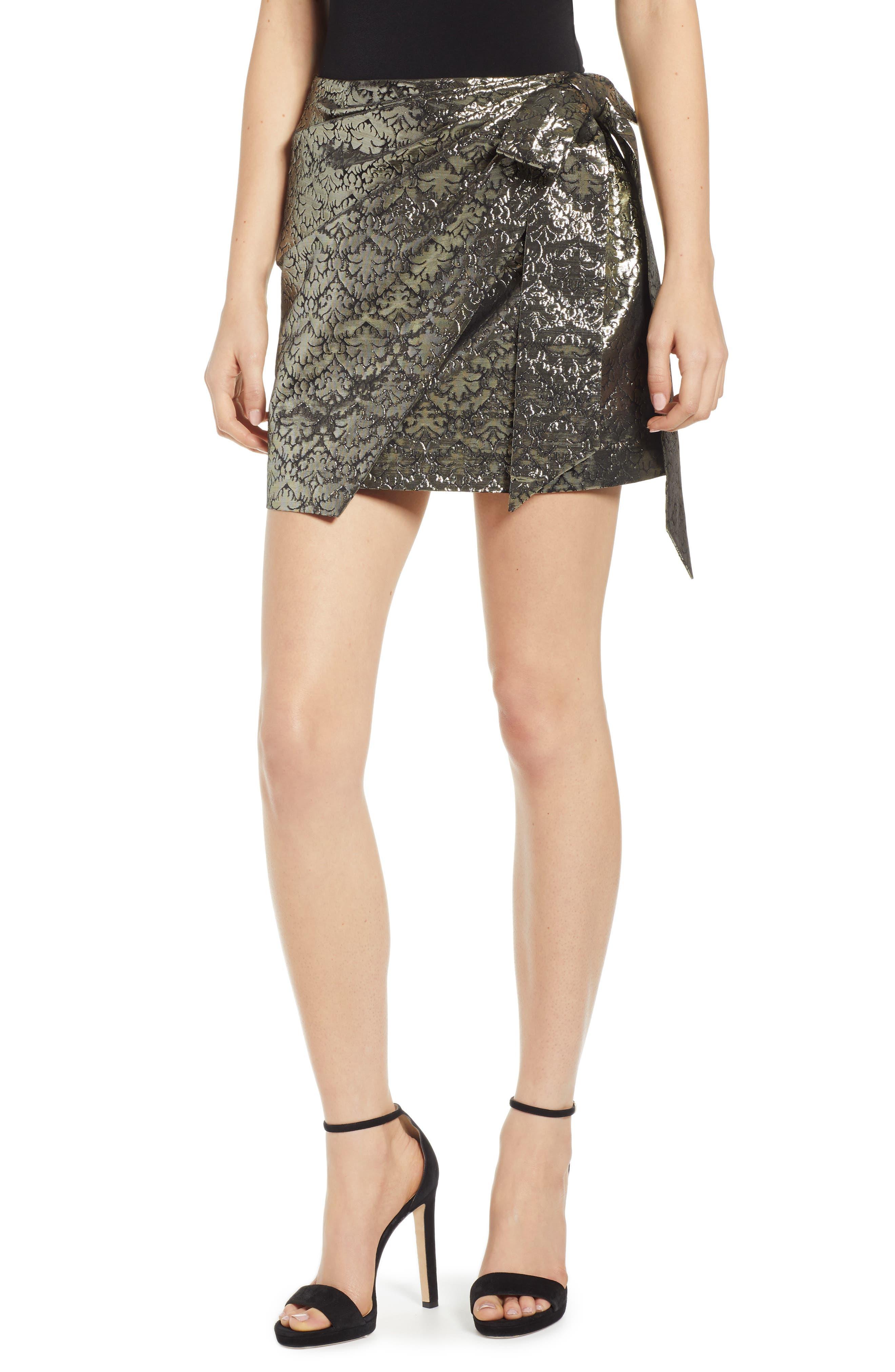 REBECCA MINKOFF, Augustina Shimmering Jacquard Faux Wrap Skirt, Main thumbnail 1, color, 710