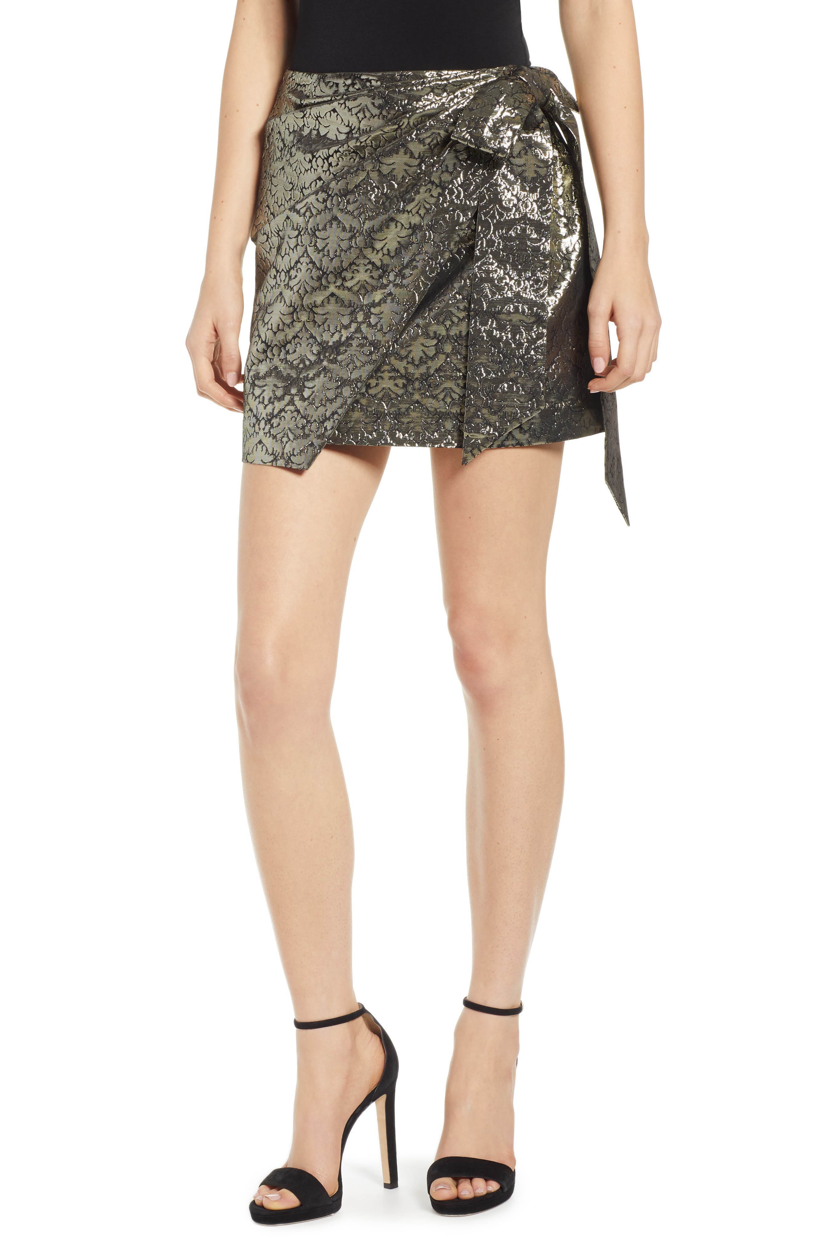 REBECCA MINKOFF Augustina Shimmering Jacquard Faux Wrap Skirt, Main, color, 710