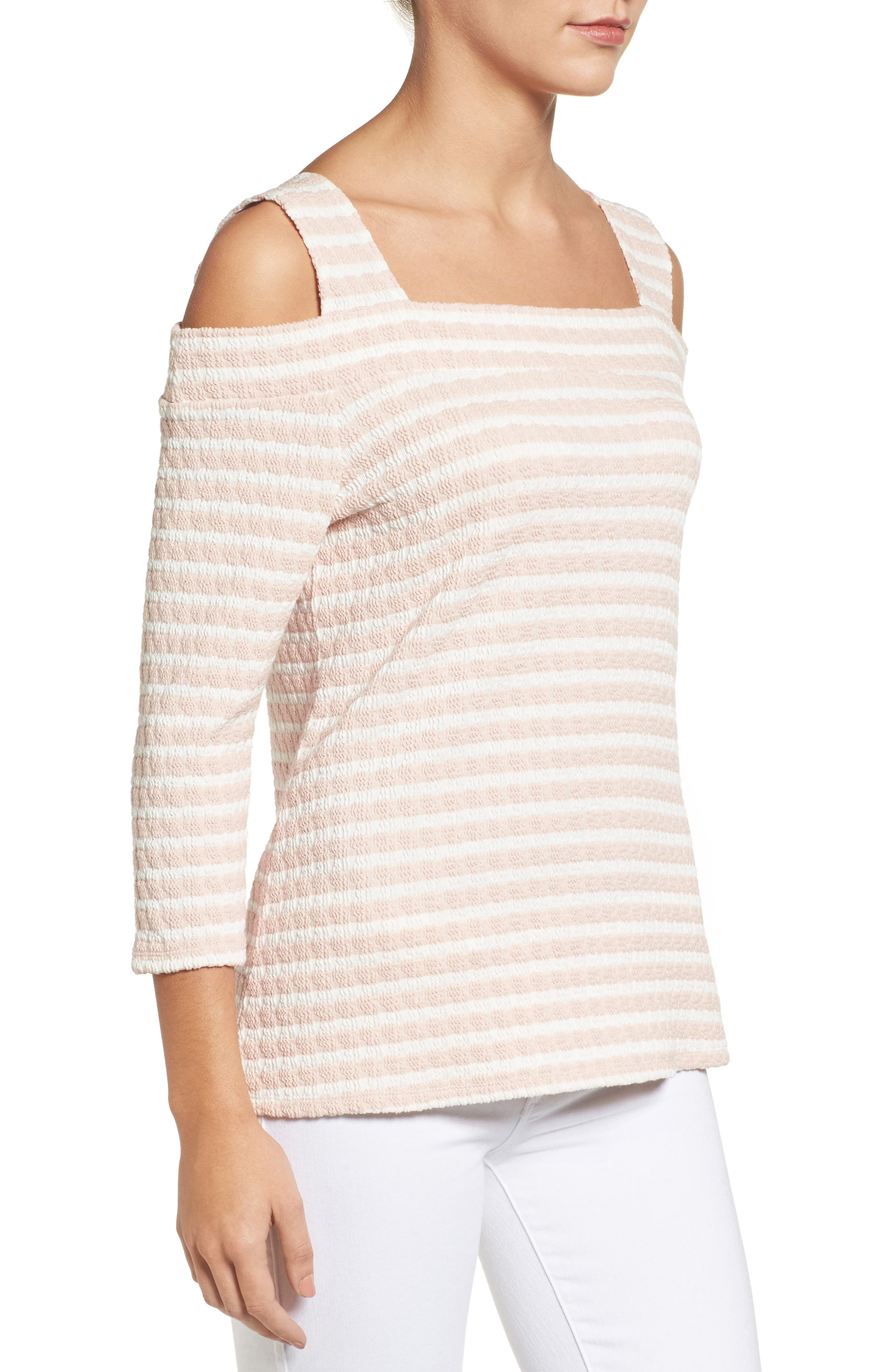 KUT FROM THE KLOTH, Fridi Texture Stripe Cold Shoulder Top, Alternate thumbnail 3, color, 194