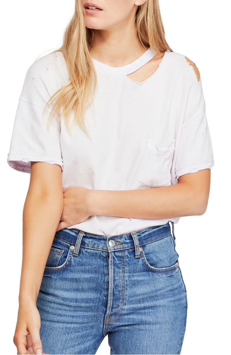 Free People Tops LUCKY DISTRESSED TEE