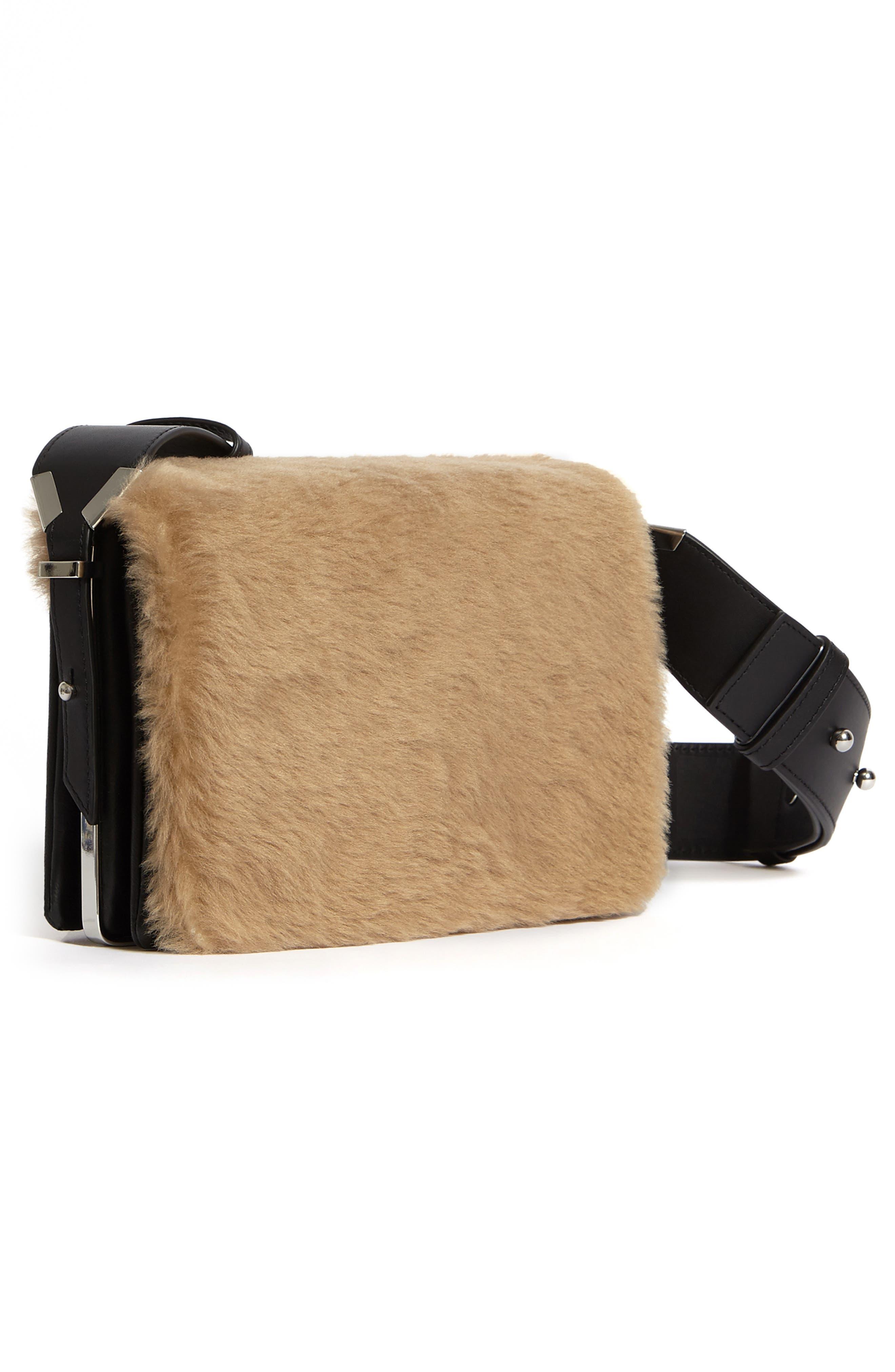 ALLSAINTS, Versailles Leather & Genuine Shearling Shoulder Bag, Alternate thumbnail 4, color, CAMEL