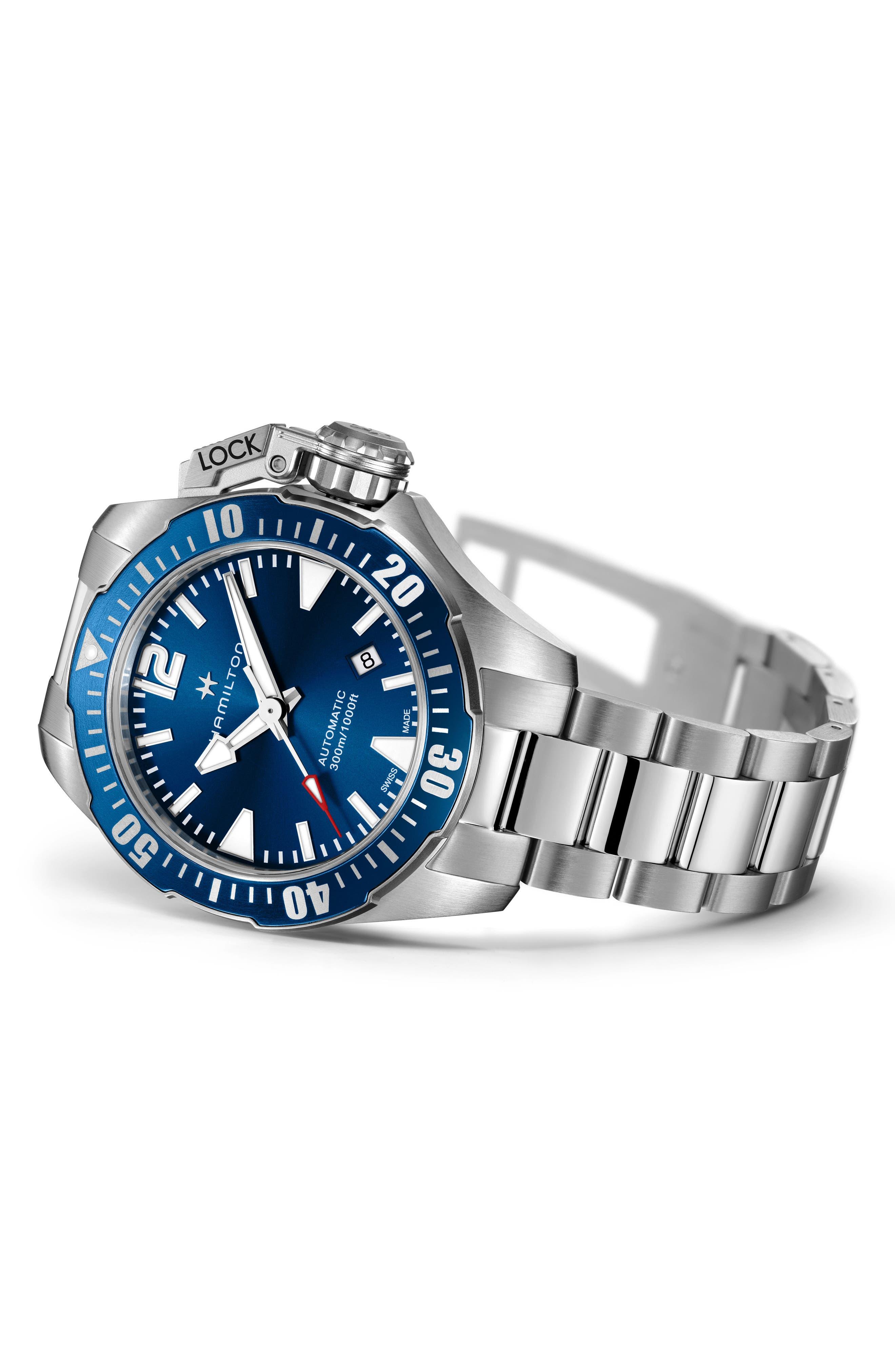HAMILTON, Khaki Navy Frogman Automatic Bracelet Watch, 42mm, Alternate thumbnail 2, color, SILVER/ BLUE/ SILVER