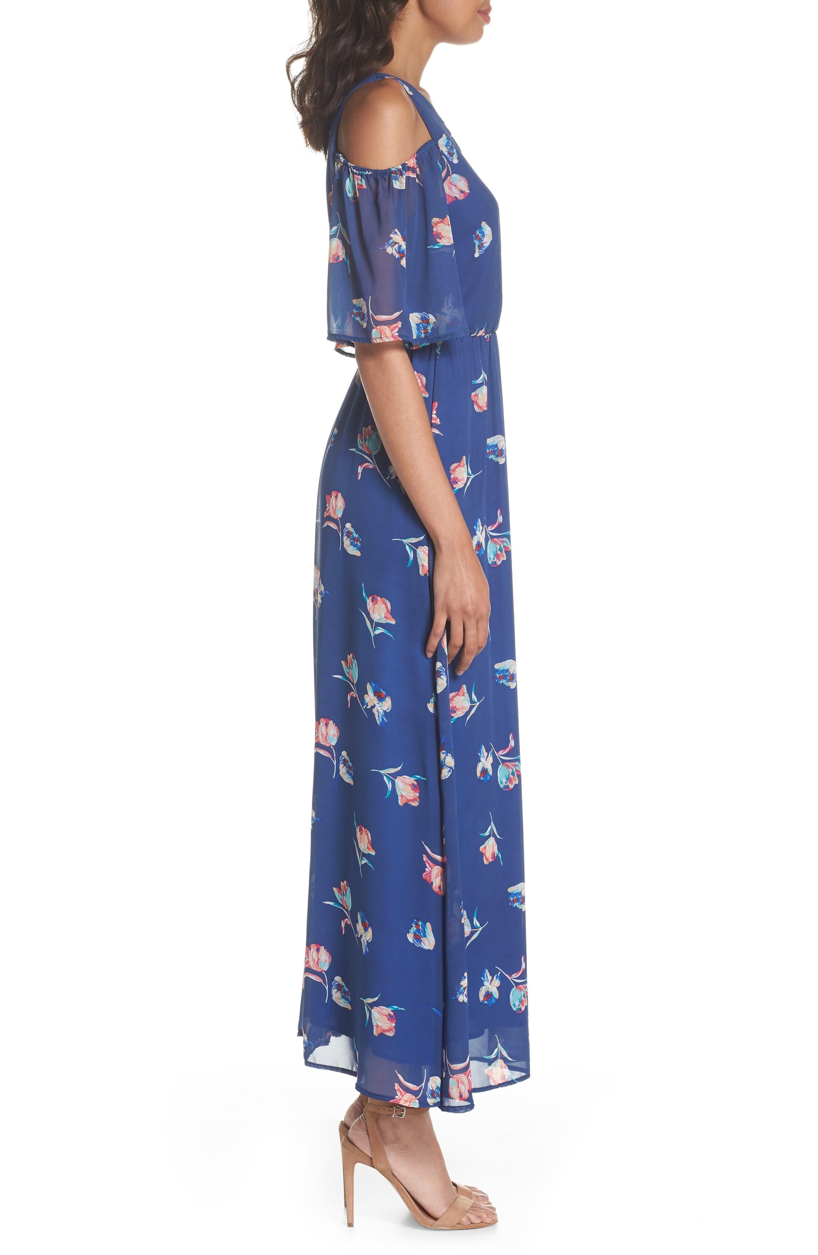 FRAICHE BY J, Cold Shoulder Maxi Dress, Alternate thumbnail 4, color, CASSY BLUE