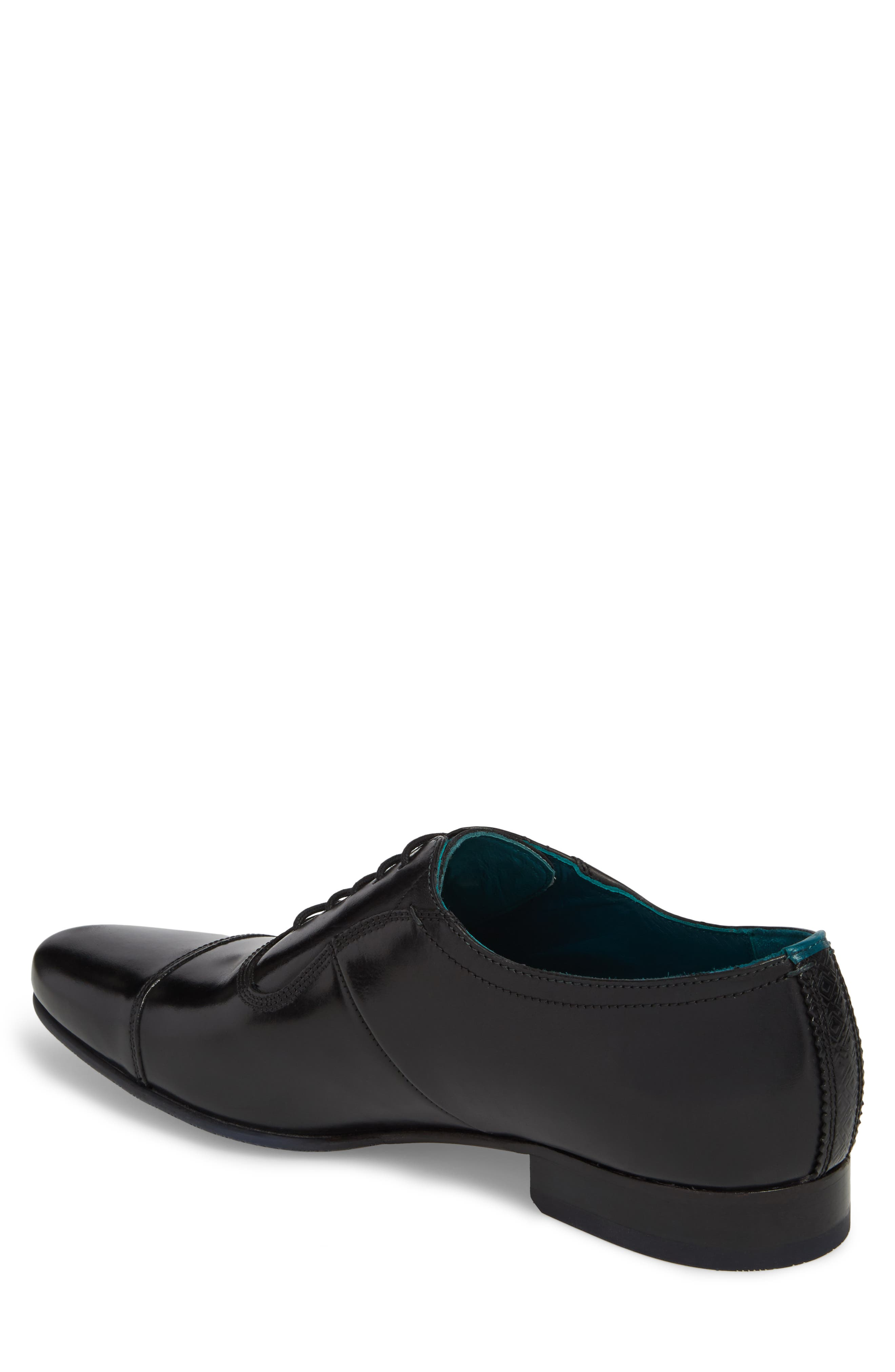 TED BAKER LONDON, Karney Cap Toe Oxford, Alternate thumbnail 2, color, BLACK LEATHER