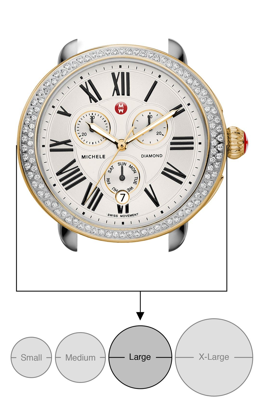 MICHELE, Serein Diamond Two-Tone Watch Case, 40mm x 38mm, Alternate thumbnail 7, color, GOLD/ SILVER