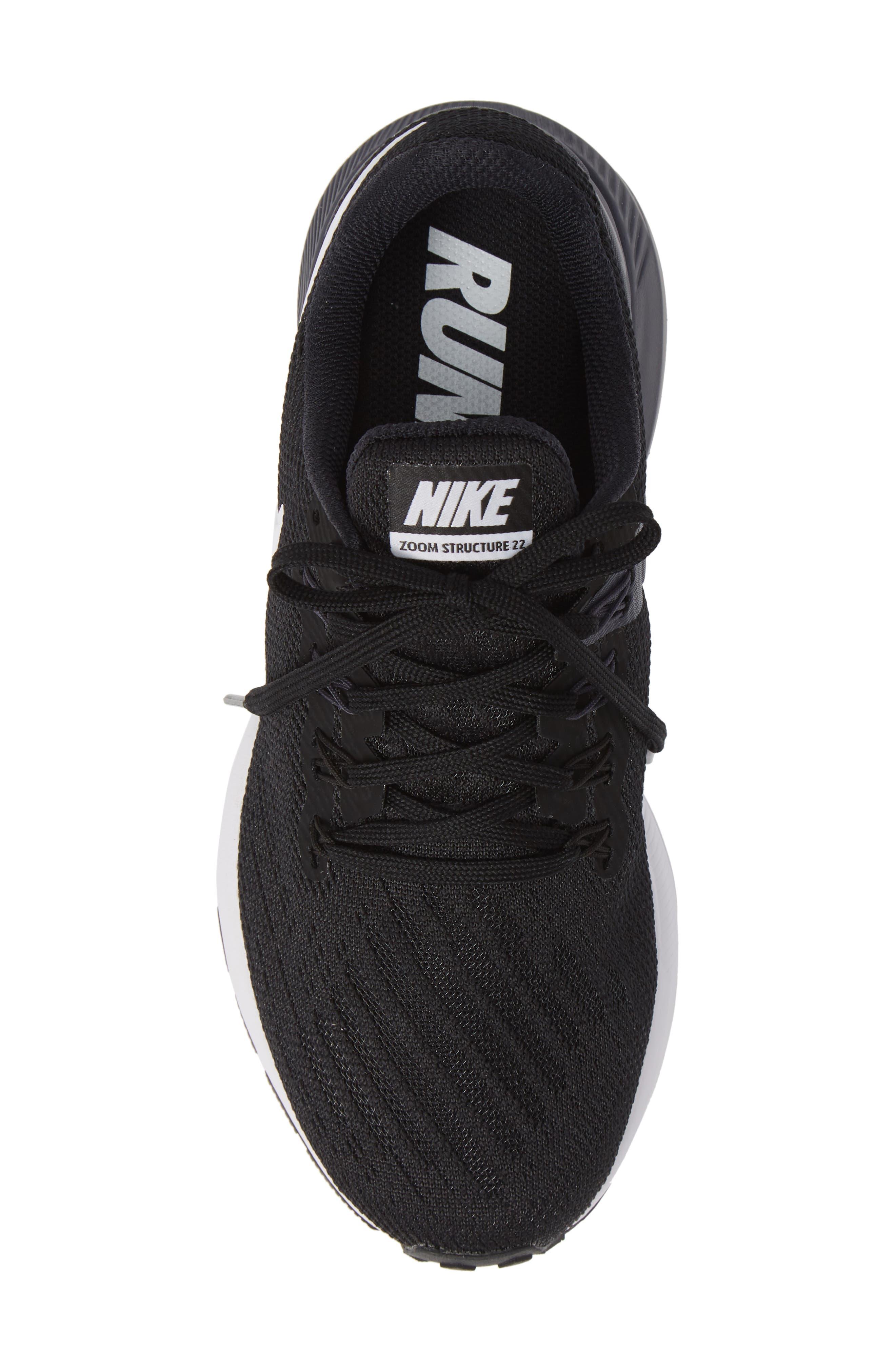 NIKE, Air Zoom Structure 22 Sneaker, Alternate thumbnail 5, color, BLACK/ WHITE-GRIDIRON